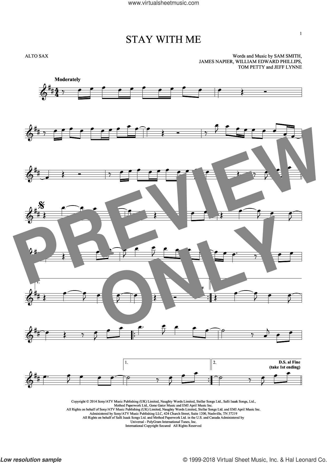 Stay With Me sheet music for alto saxophone solo by Sam Smith, James Napier, Jeff Lynne, Tom Petty and William Edward Phillips, intermediate skill level