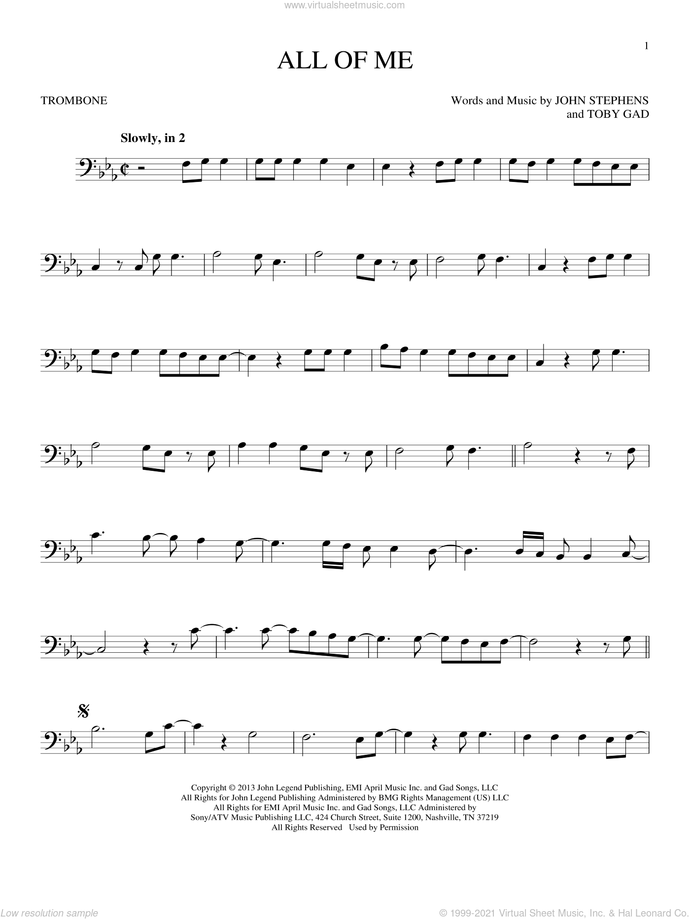All Of Me sheet music for trombone solo by John Legend, John Stephens and Toby Gad, wedding score, intermediate