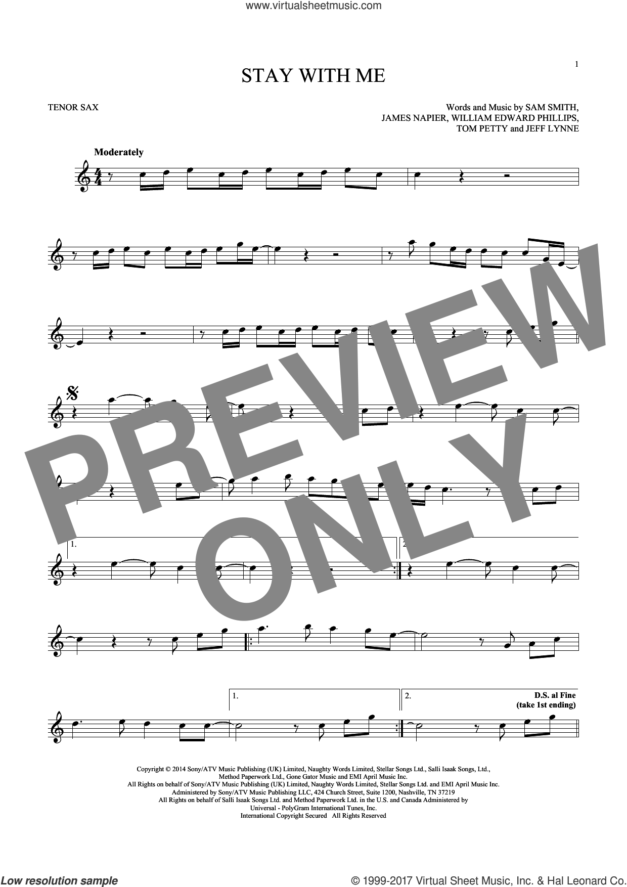 Stay With Me sheet music for tenor saxophone solo by Sam Smith, James Napier, Jeff Lynne, Tom Petty and William Edward Phillips, intermediate skill level