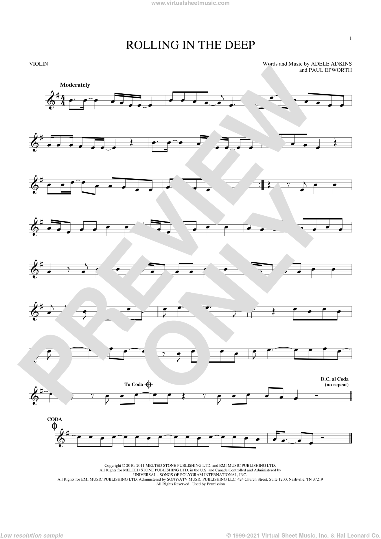 Rolling In The Deep sheet music for violin solo by Adele, Adele Adkins and Paul Epworth, intermediate skill level