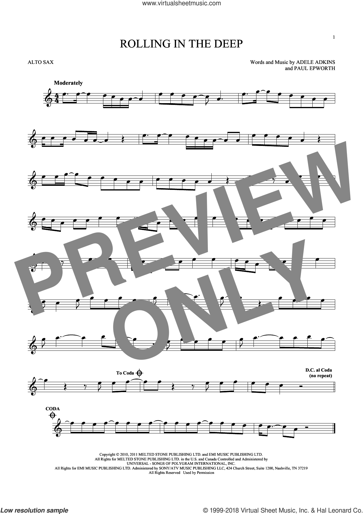 Rolling In The Deep sheet music for alto saxophone solo ( Sax) by Adele and Paul Epworth, intermediate alto saxophone ( Sax). Score Image Preview.