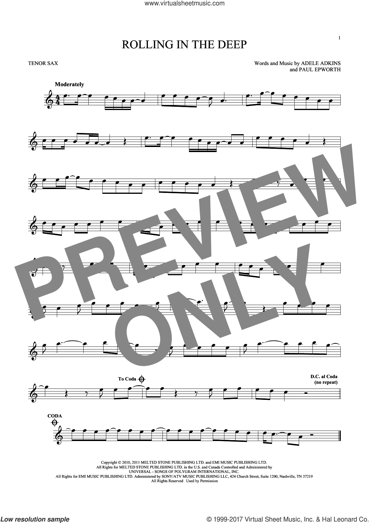Rolling In The Deep sheet music for tenor saxophone solo by Adele, Adele Adkins and Paul Epworth, intermediate skill level
