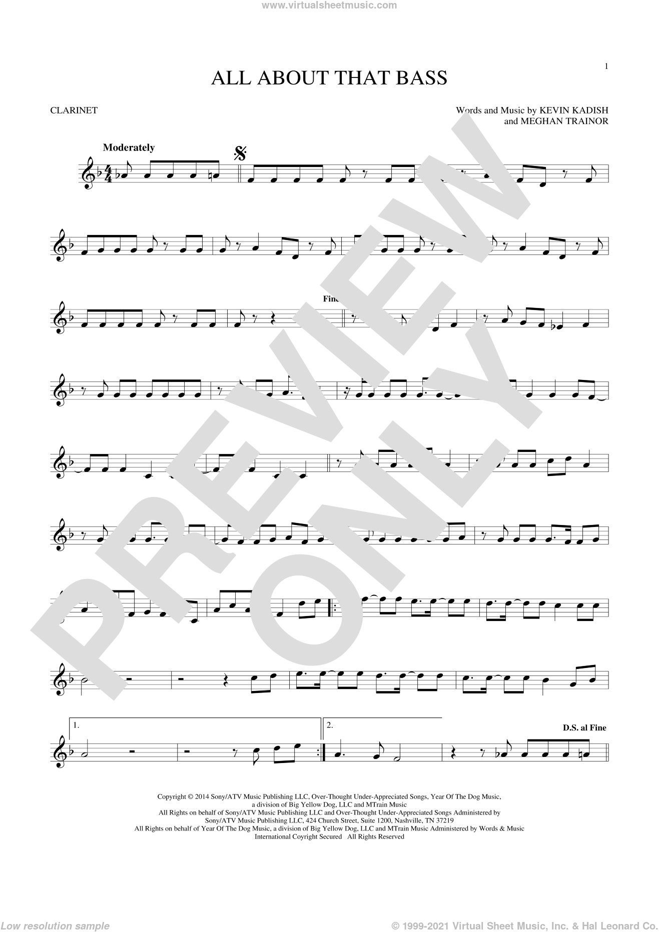 All About That Bass sheet music for clarinet solo by Meghan Trainor and Kevin Kadish, intermediate. Score Image Preview.