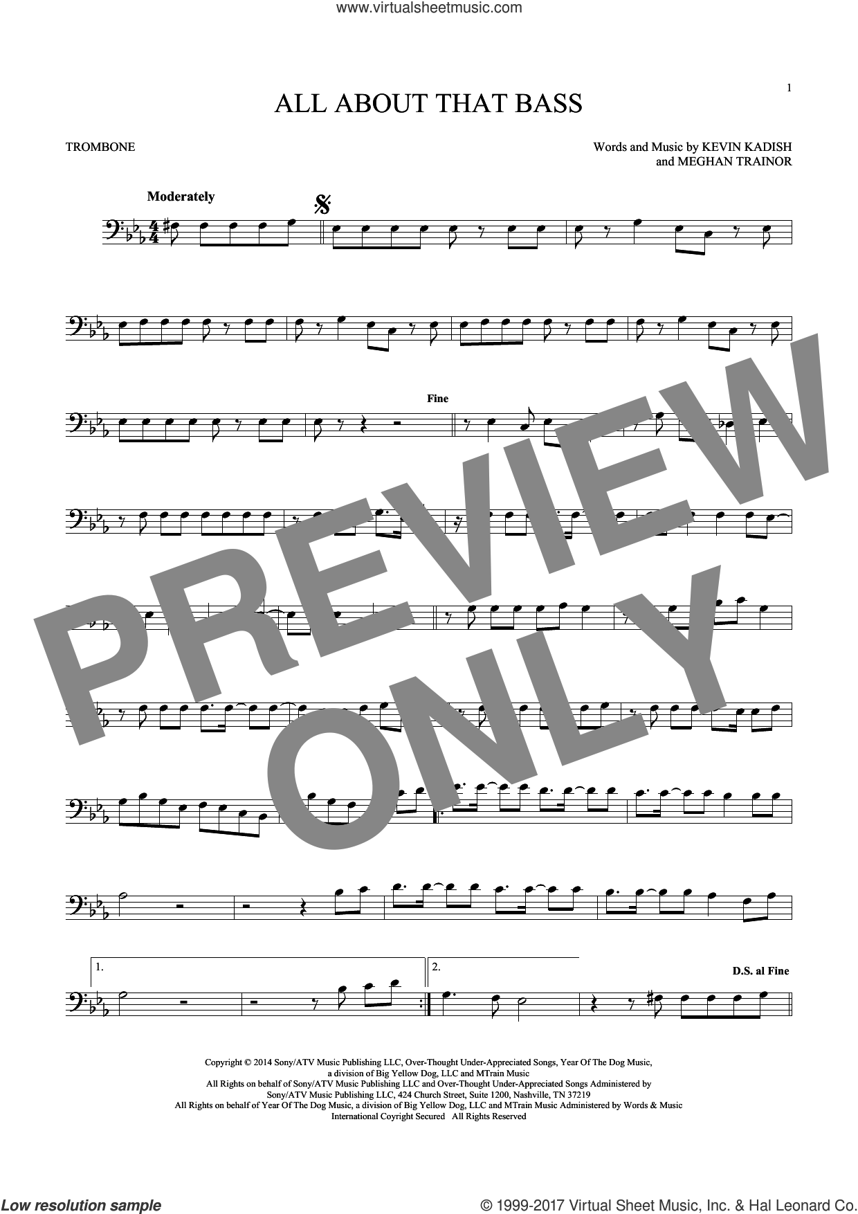 All About That Bass sheet music for trombone solo by Meghan Trainor and Kevin Kadish, intermediate. Score Image Preview.
