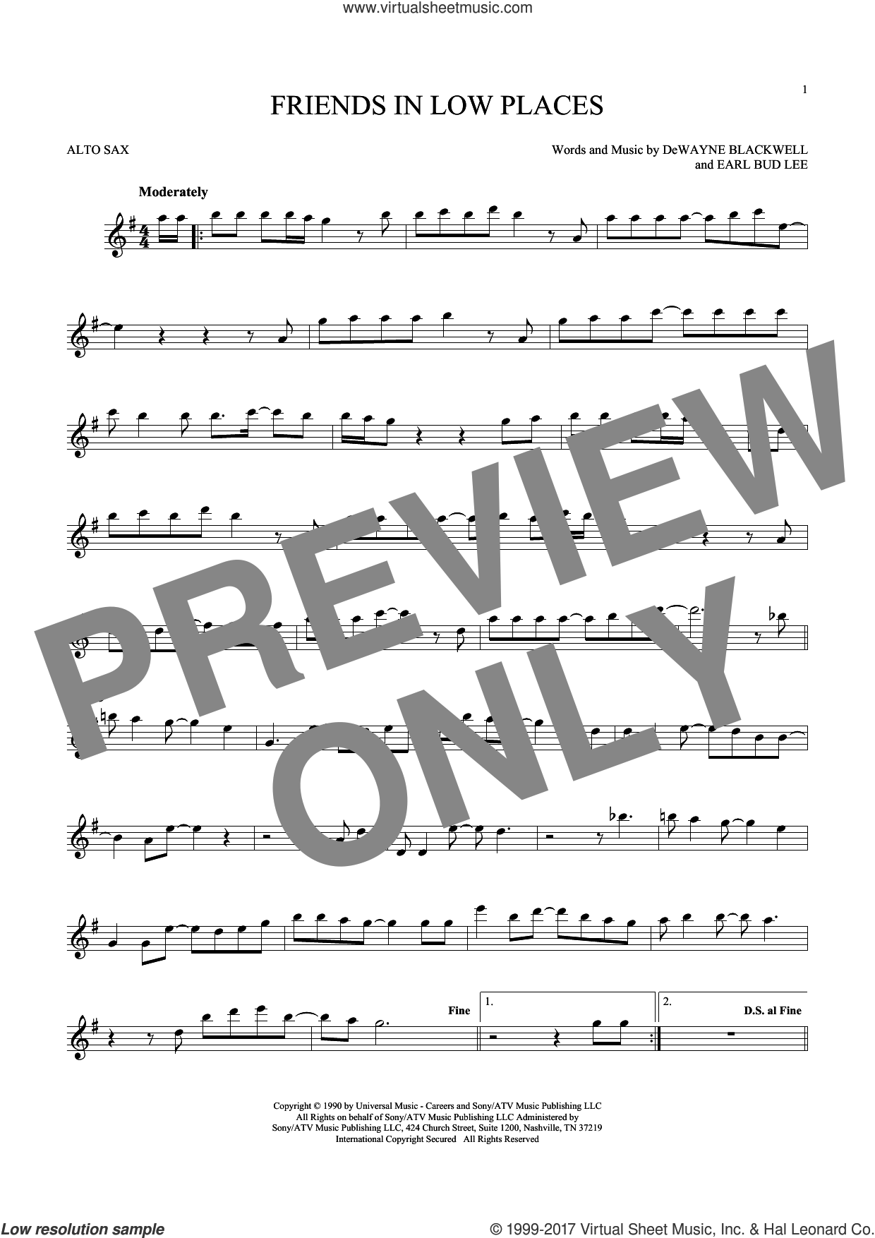 Friends In Low Places sheet music for alto saxophone solo ( Sax) by Garth Brooks, DeWayne Blackwell and Earl Bud Lee, intermediate alto saxophone ( Sax). Score Image Preview.