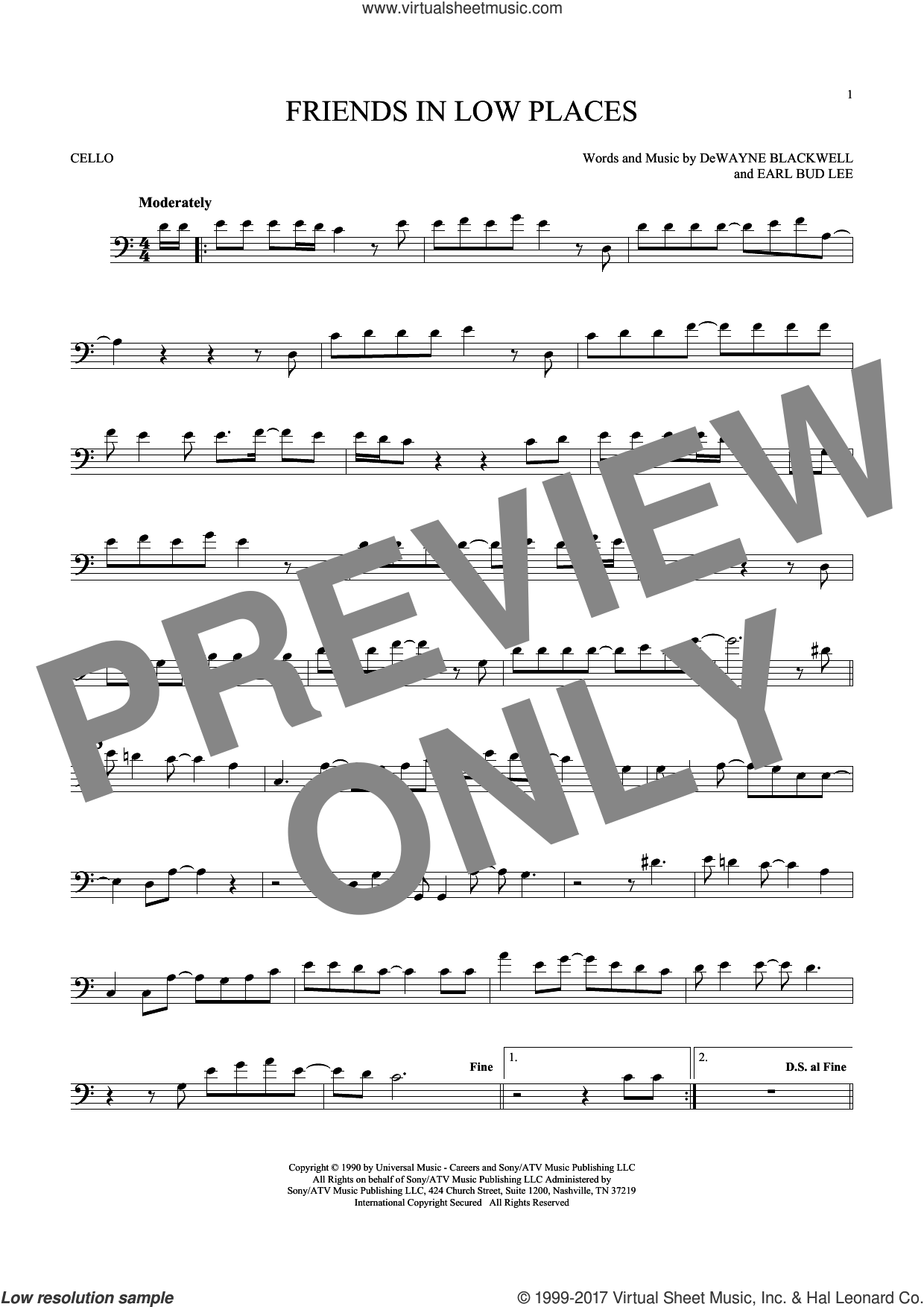 Friends In Low Places sheet music for cello solo by Garth Brooks, DeWayne Blackwell and Earl Bud Lee, intermediate skill level