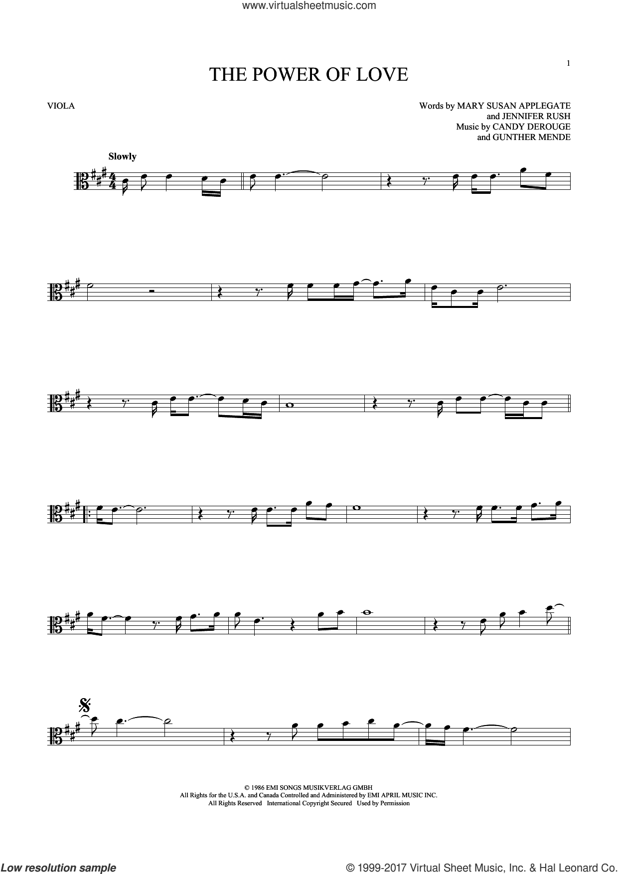 The Power Of Love sheet music for viola solo by Air Supply, Celine Dion, Laura Brannigan, Candy Derouge, Gunther Mende, Jennifer Rush and Mary Susan Applegate, intermediate. Score Image Preview.