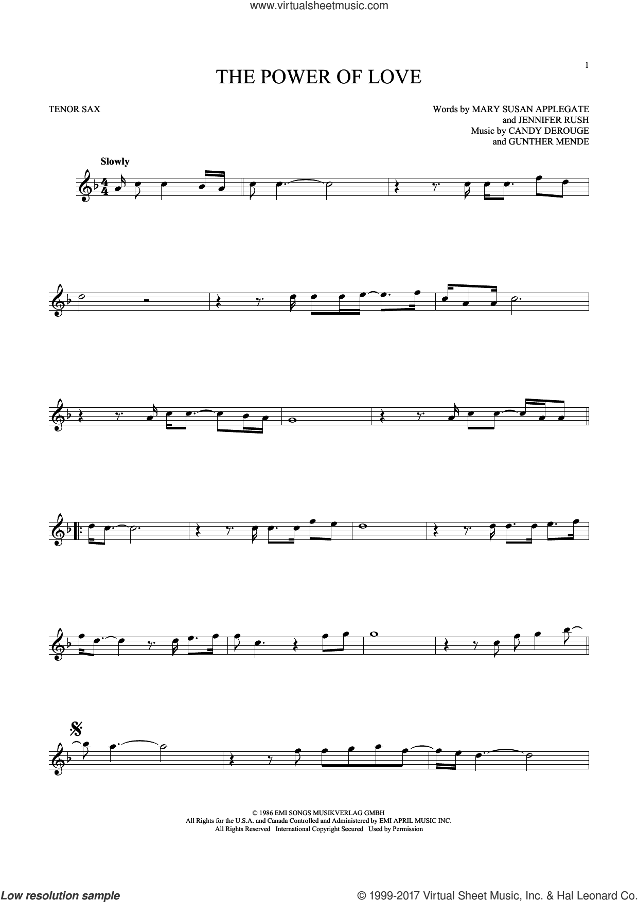 The Power Of Love sheet music for tenor saxophone solo by Air Supply, Celine Dion, Laura Brannigan, Candy Derouge, Gunther Mende, Jennifer Rush and Mary Susan Applegate, intermediate skill level