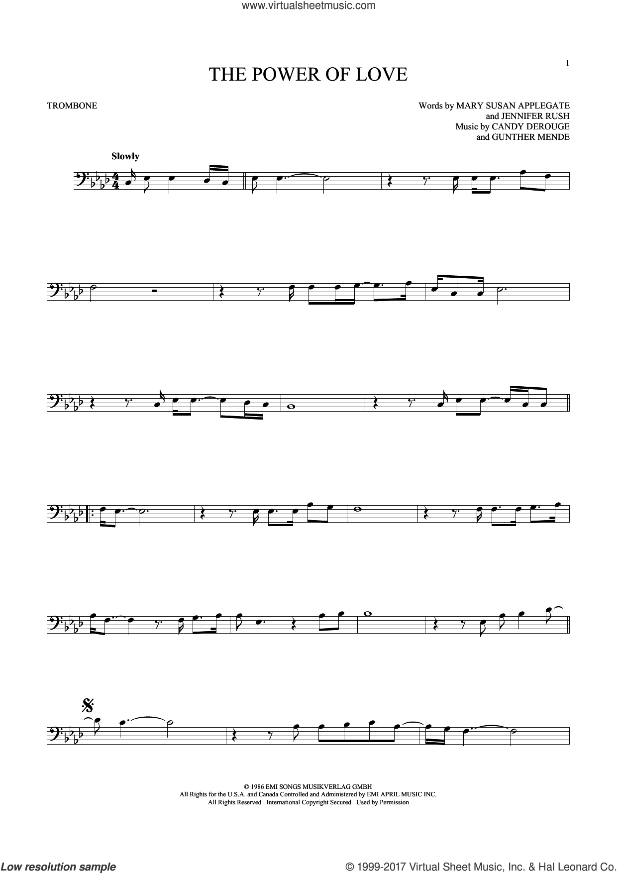 The Power Of Love sheet music for trombone solo by Air Supply, Celine Dion, Laura Brannigan, Candy Derouge, Gunther Mende, Jennifer Rush and Mary Susan Applegate, intermediate skill level