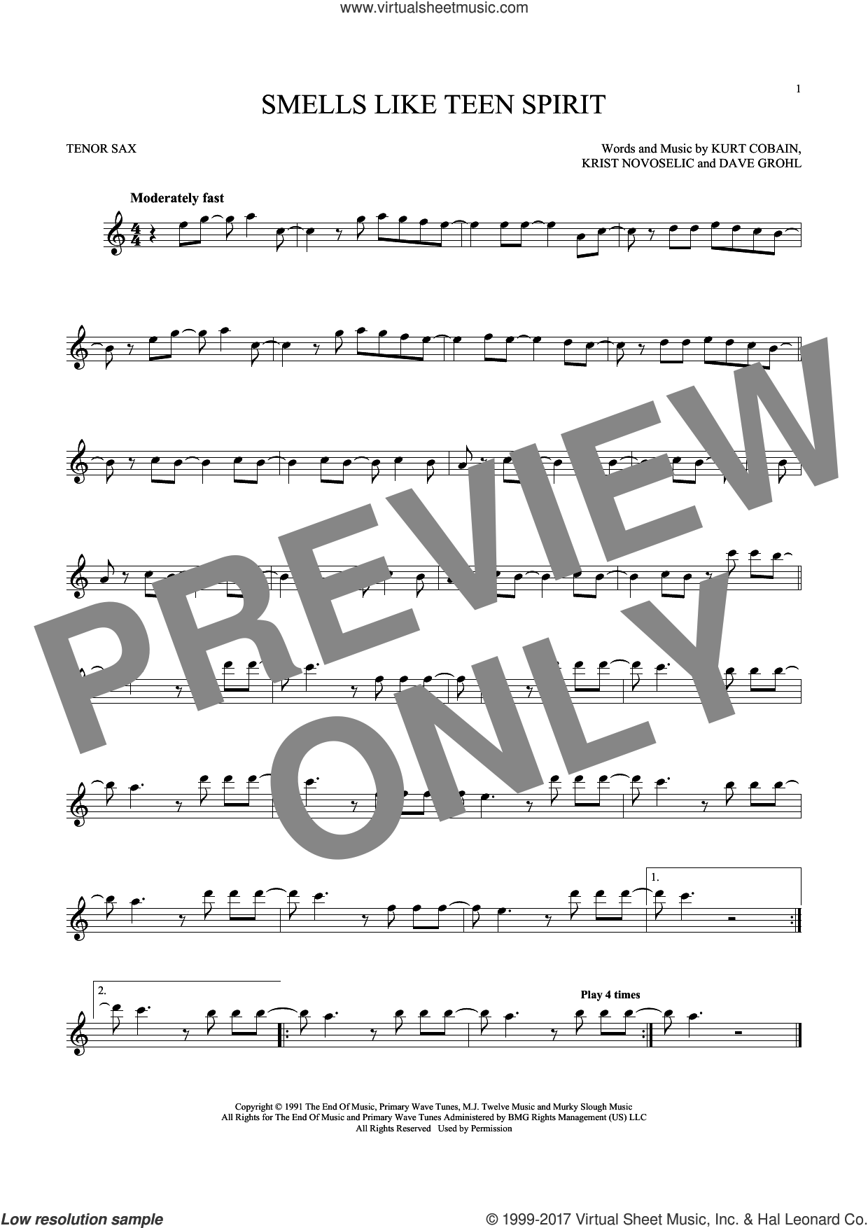 Smells Like Teen Spirit sheet music for tenor saxophone solo by Nirvana, Dave Grohl, Krist Novoselic and Kurt Cobain, intermediate skill level