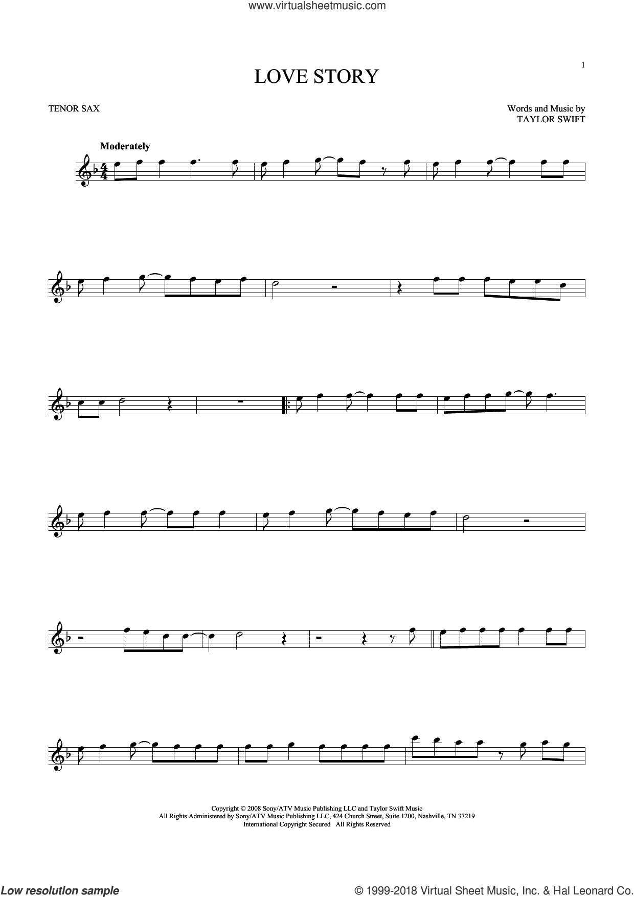 Love Story sheet music for tenor saxophone solo by Taylor Swift, intermediate skill level