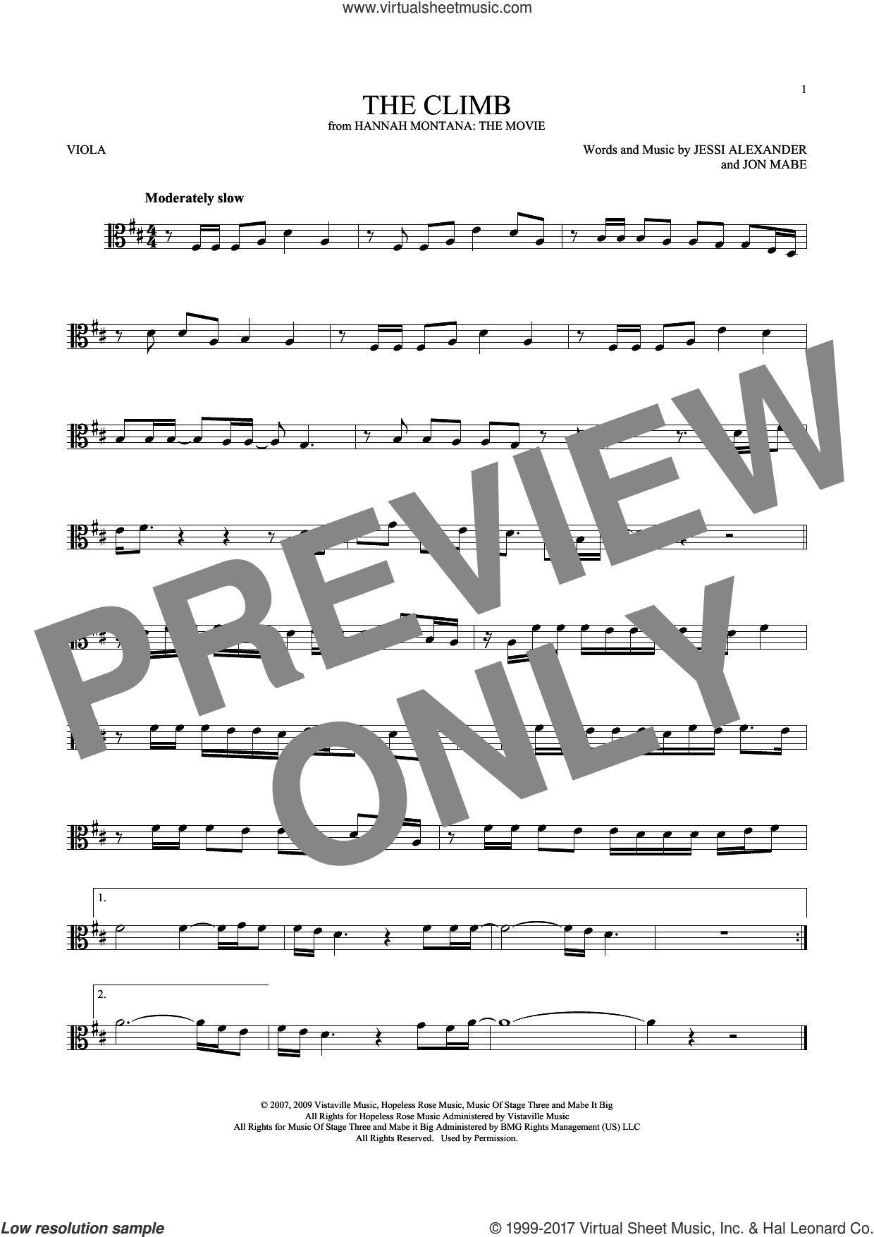 The Climb sheet music for viola solo by Miley Cyrus and Jessi Alexander, intermediate. Score Image Preview.