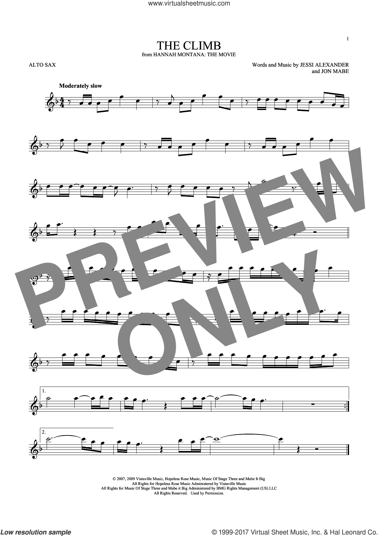 The Climb sheet music for alto saxophone solo by Miley Cyrus, Jessi Alexander and Jon Mabe, intermediate skill level