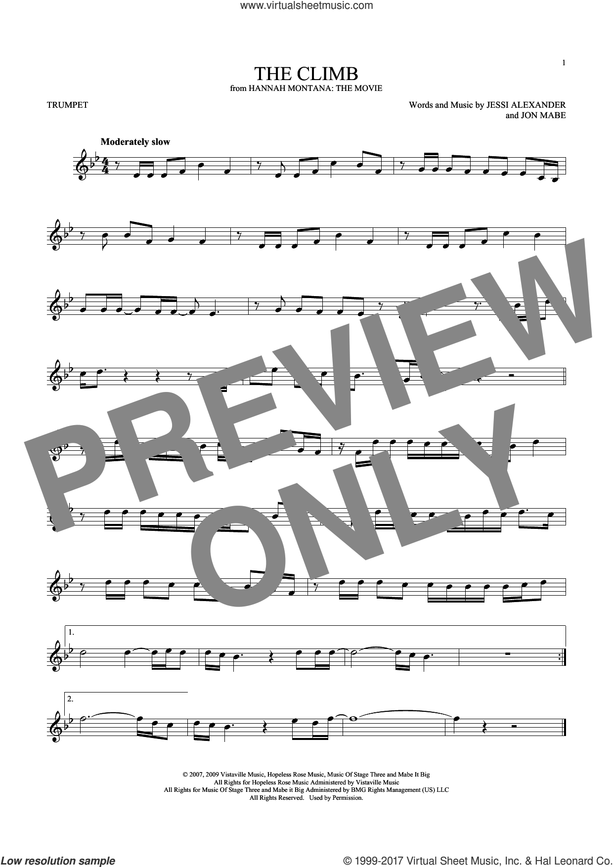 The Climb sheet music for trumpet solo by Miley Cyrus, Jessi Alexander and Jon Mabe, intermediate skill level