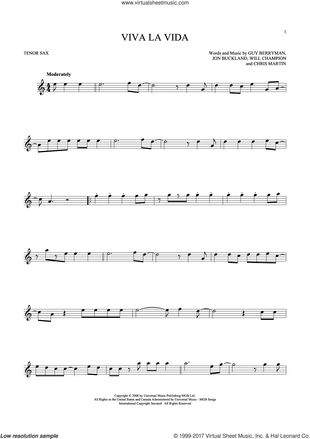 Viva La Vida sheet music for tenor saxophone solo ( Sax) by Coldplay. Score Image Preview.