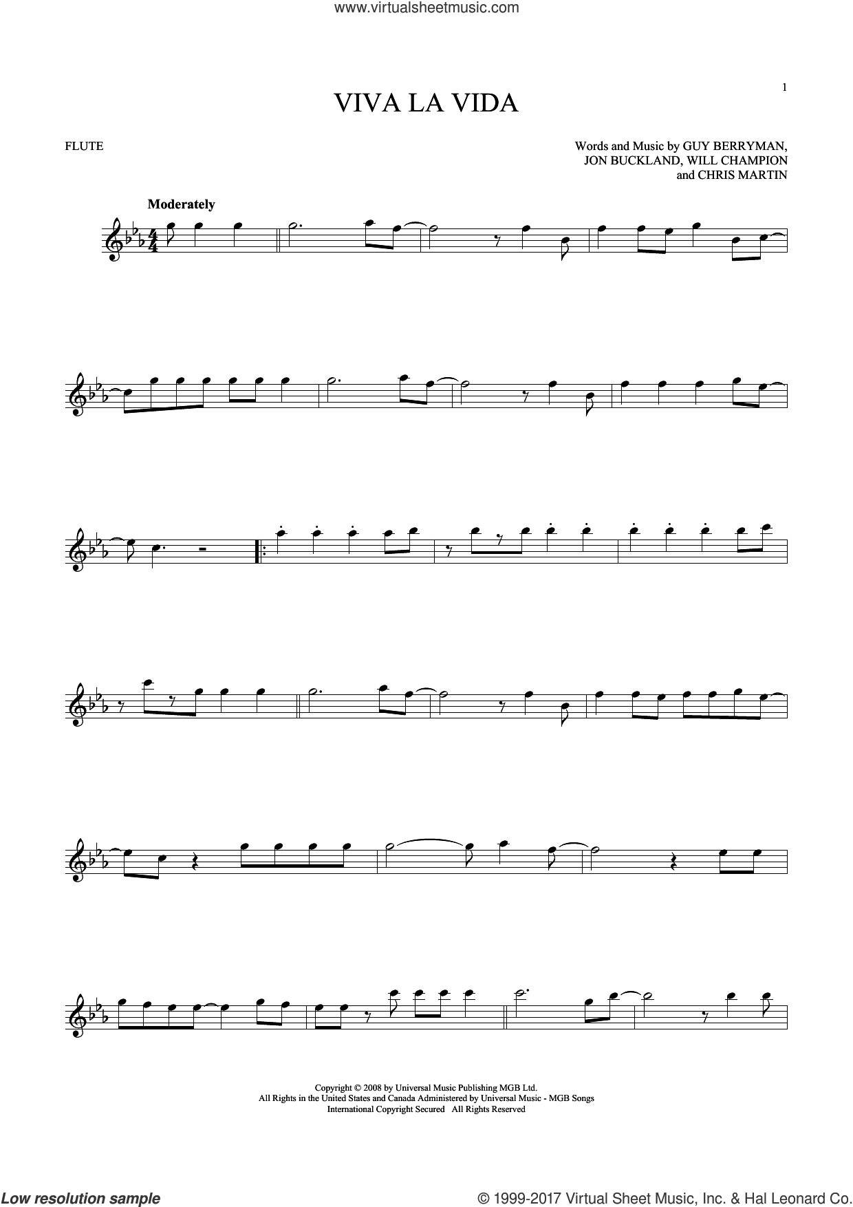 Viva La Vida sheet music for flute solo by Chris Martin, Coldplay, Guy Berryman, Jon Buckland and Will Champion, intermediate skill level