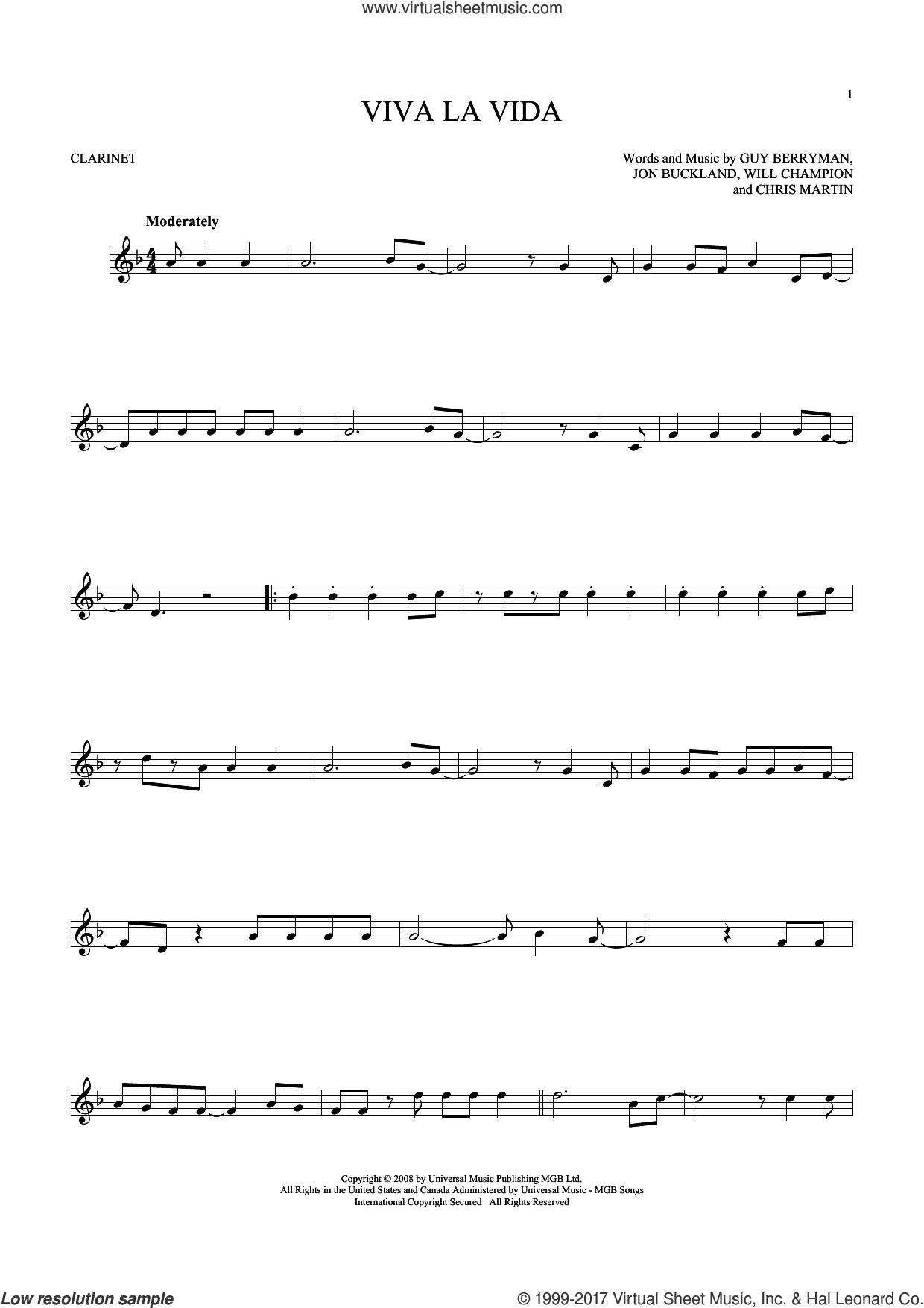 Viva La Vida sheet music for clarinet solo by Guy Berryman, Coldplay, Chris Martin, Jon Buckland and Will Champion, intermediate skill level