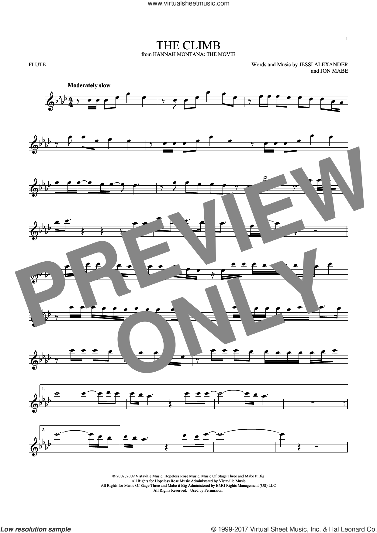 The Climb sheet music for flute solo by Miley Cyrus, Jessi Alexander and Jon Mabe, intermediate skill level