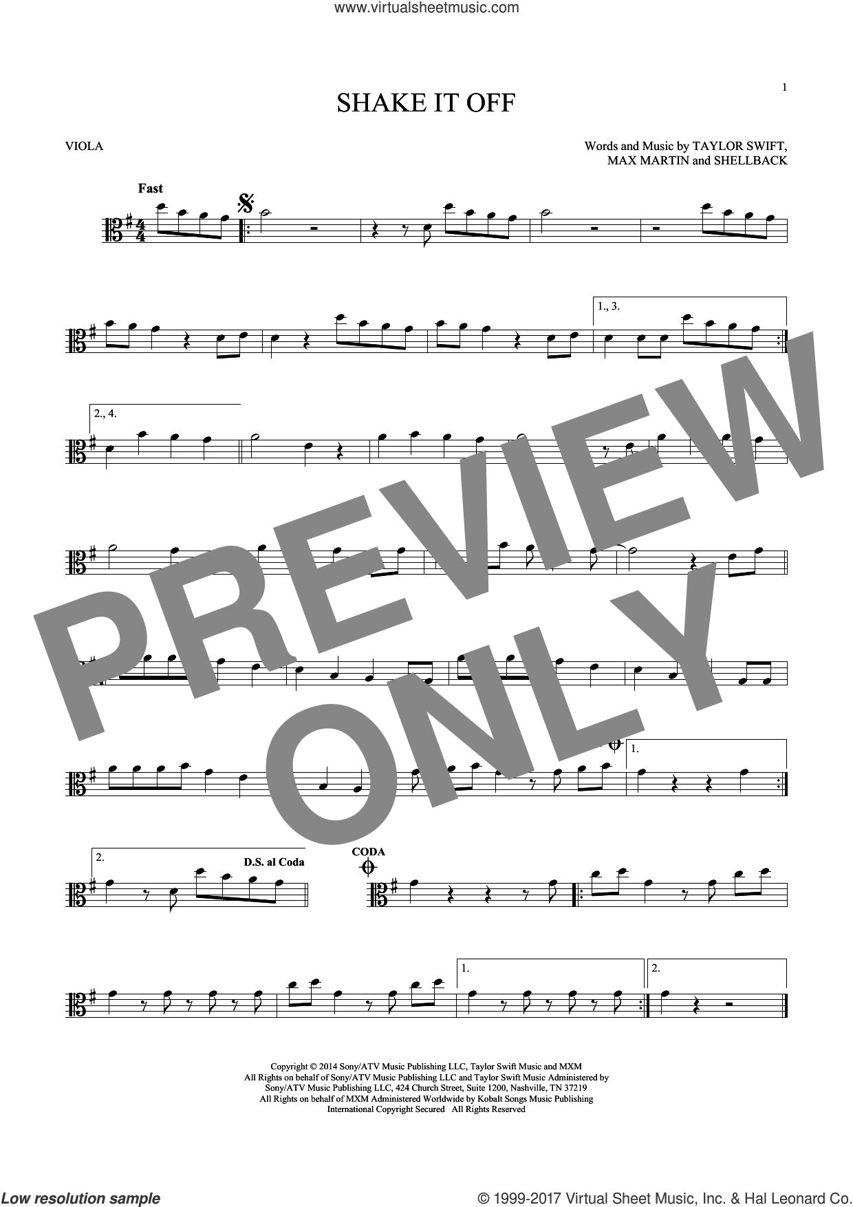 Shake It Off sheet music for viola solo by Taylor Swift, Johan Schuster, Max Martin and Shellback, intermediate skill level