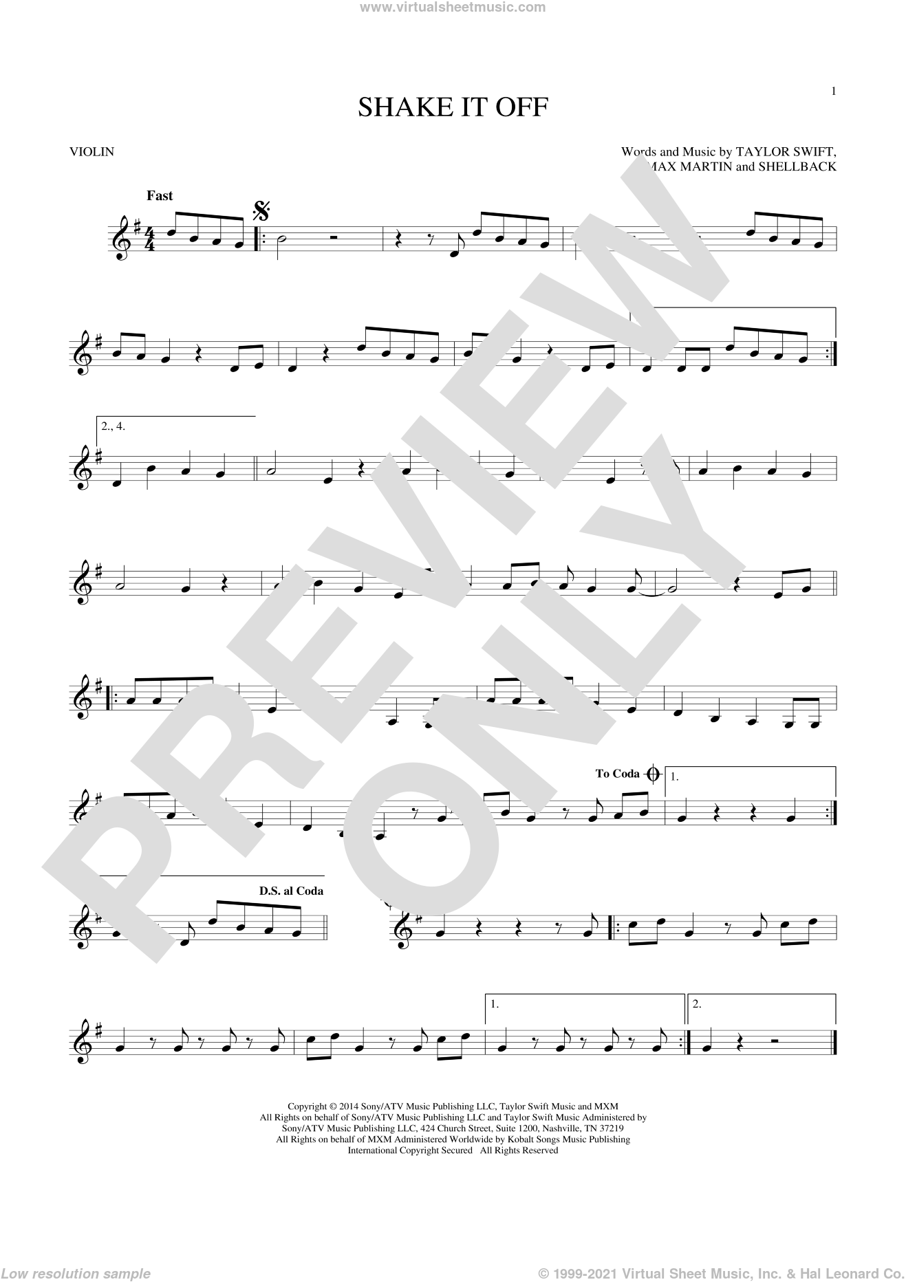 Shake It Off sheet music for violin solo by Shellback, Johan Schuster, Max Martin and Taylor Swift. Score Image Preview.