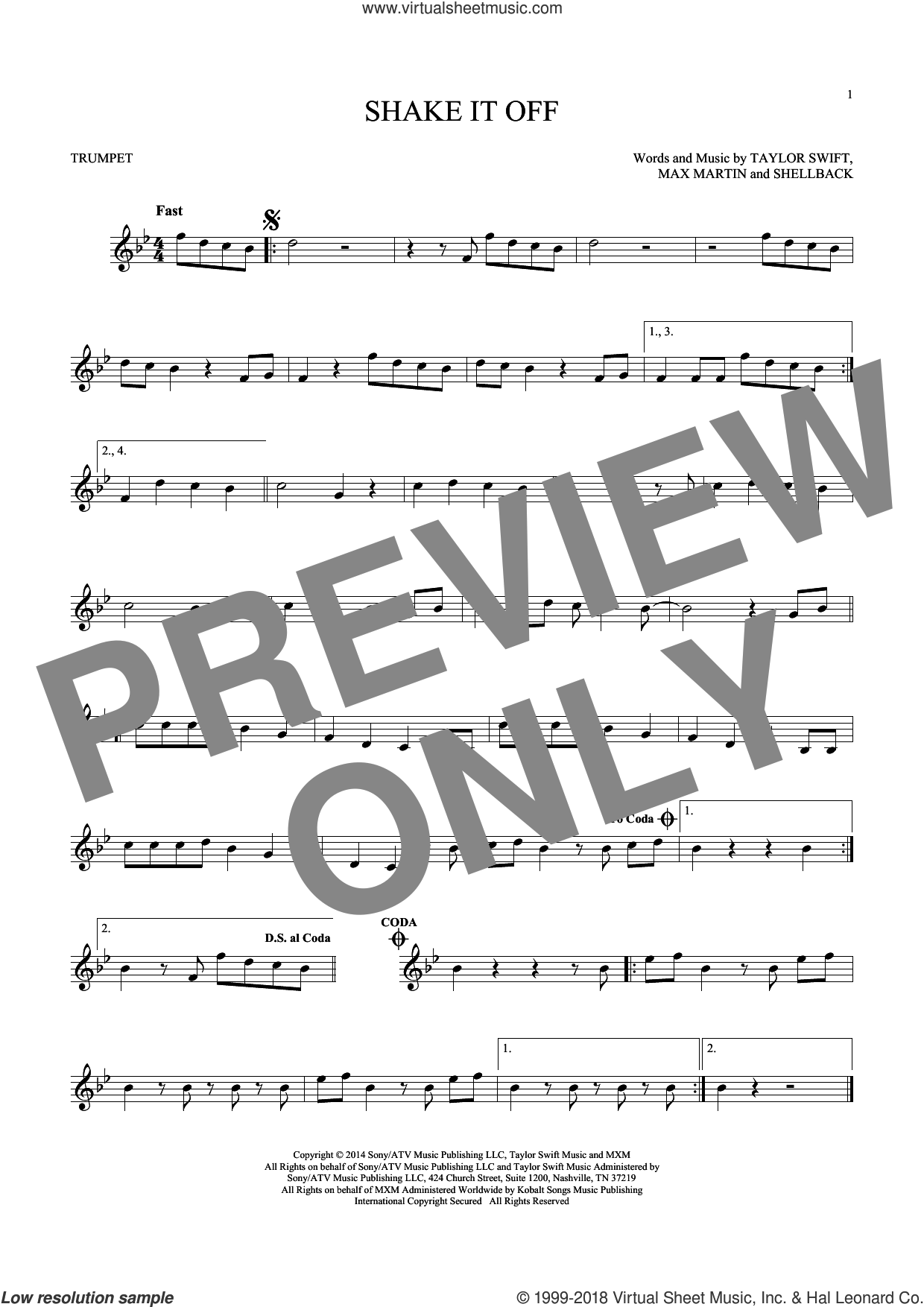 Shake It Off sheet music for trumpet solo by Taylor Swift, Johan Schuster, Max Martin and Shellback, intermediate trumpet. Score Image Preview.