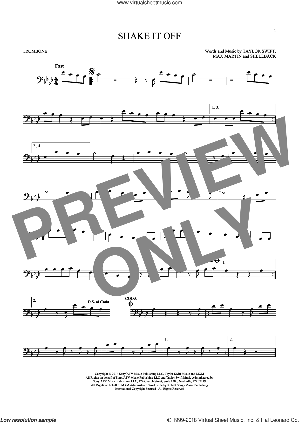 Shake It Off sheet music for trombone solo by Shellback, Johan Schuster, Max Martin and Taylor Swift. Score Image Preview.