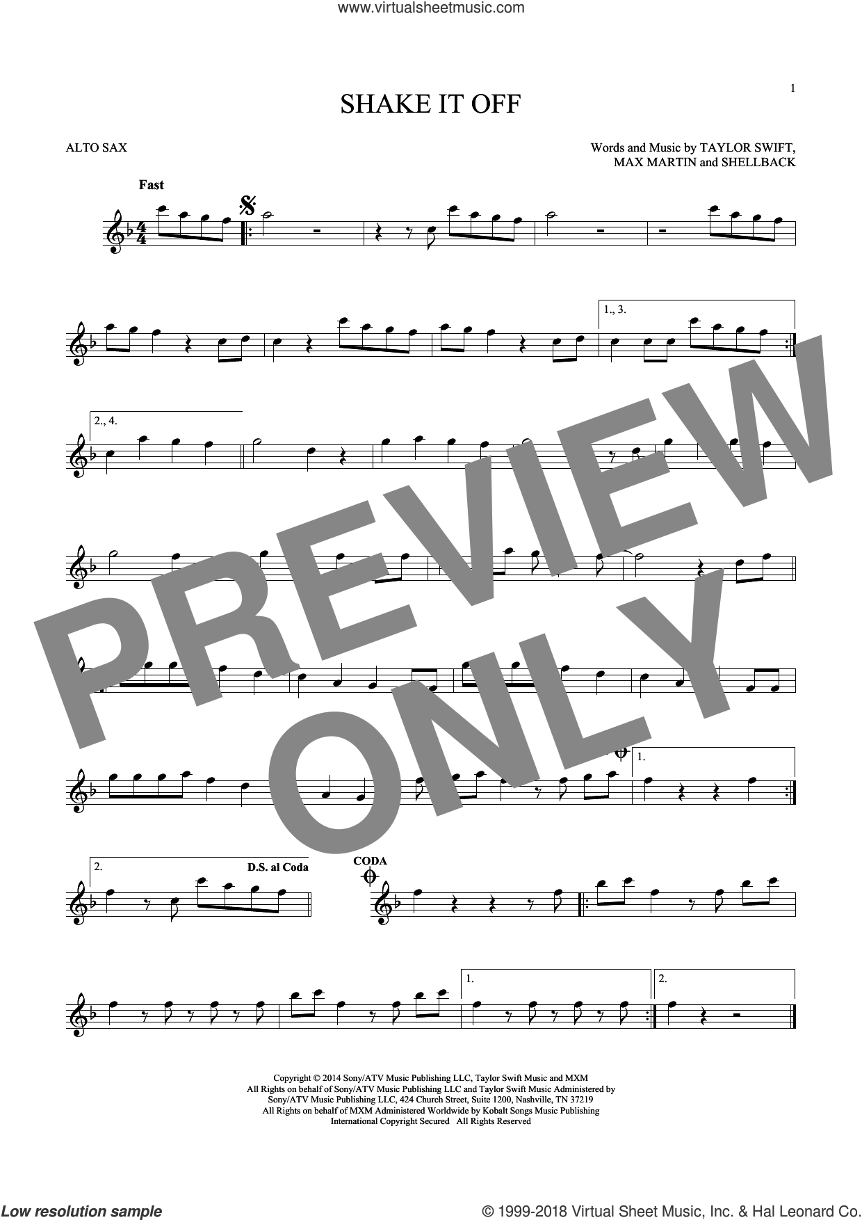 Shake It Off sheet music for alto saxophone solo ( Sax) by Shellback, Johan Schuster, Max Martin and Taylor Swift. Score Image Preview.