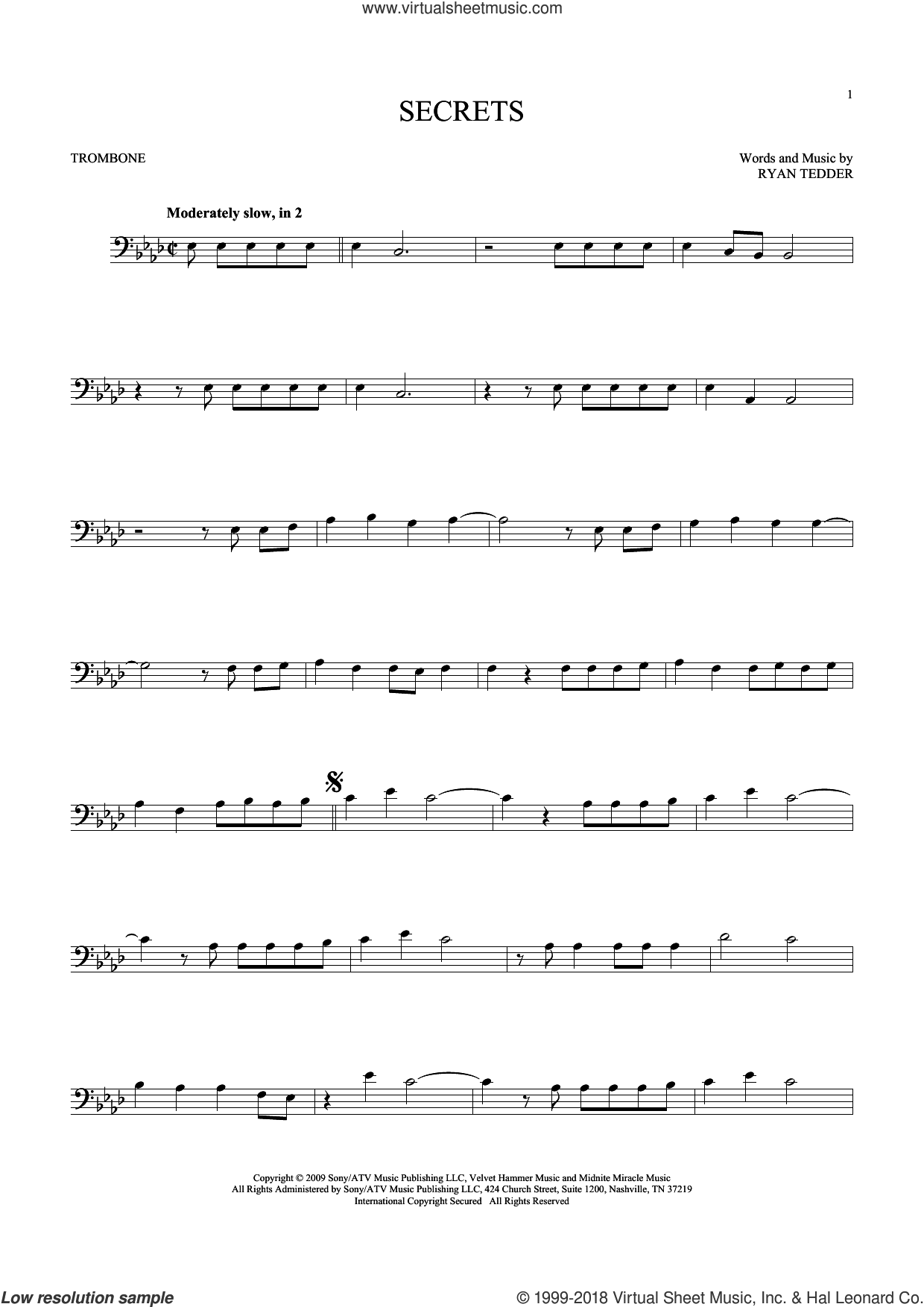 Secrets sheet music for trombone solo by Ryan Tedder and OneRepublic. Score Image Preview.