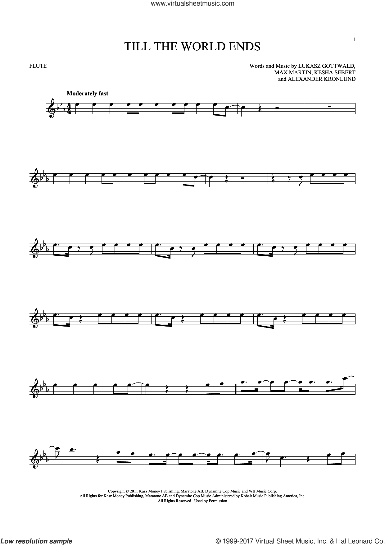 Till The World Ends sheet music for flute solo by Britney Spears, Alexander Kronlund, Kesha Sebert, Lukasz Gottwald and Max Martin, intermediate skill level