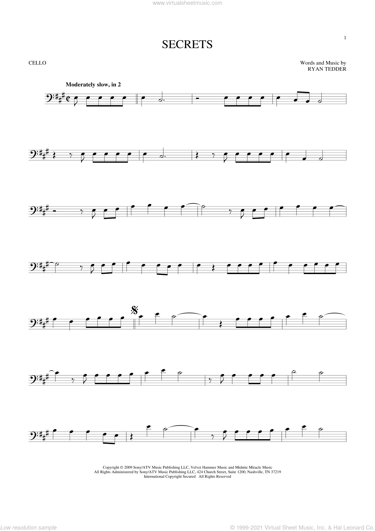 Secrets sheet music for cello solo by OneRepublic and Ryan Tedder, intermediate skill level