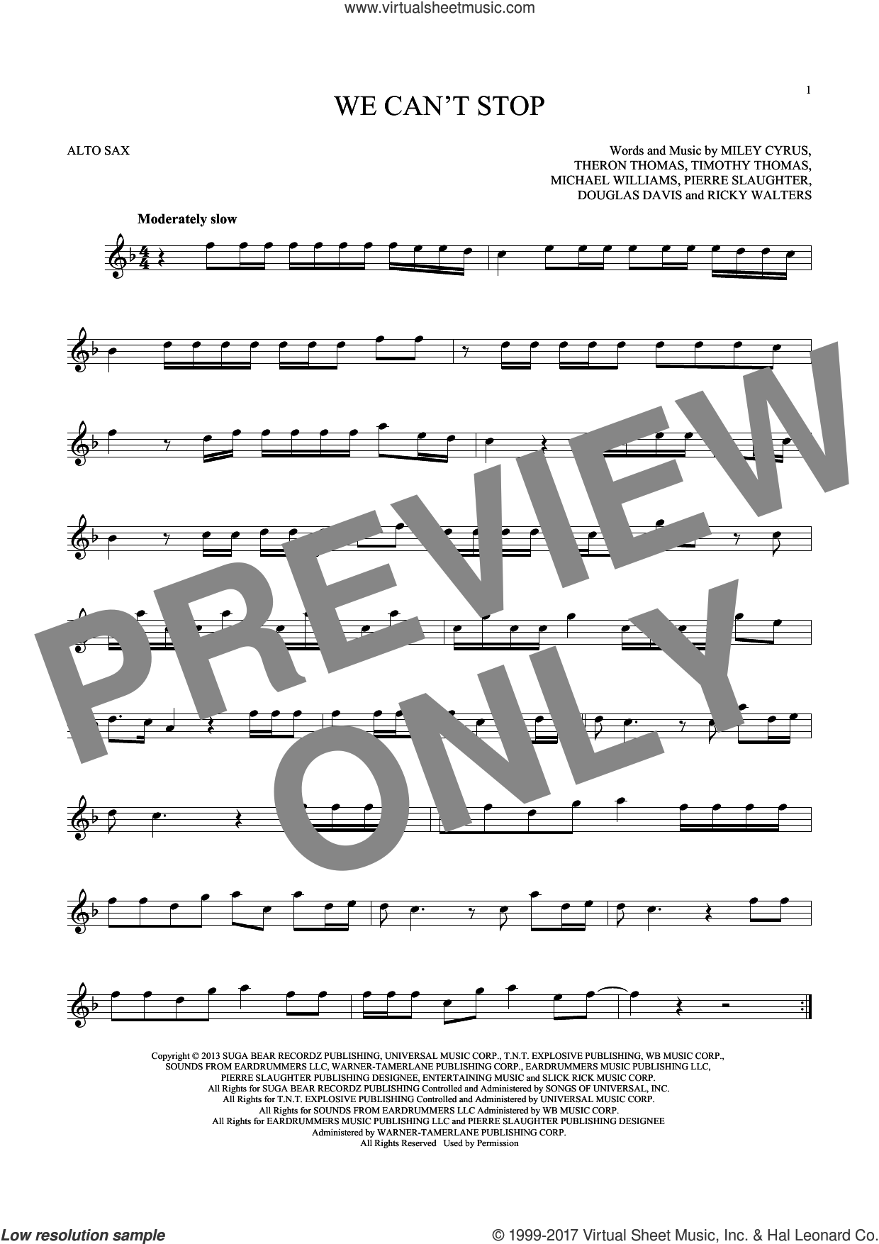 We Can't Stop sheet music for alto saxophone solo ( Sax) by Miley Cyrus and Timmy Thomas. Score Image Preview.