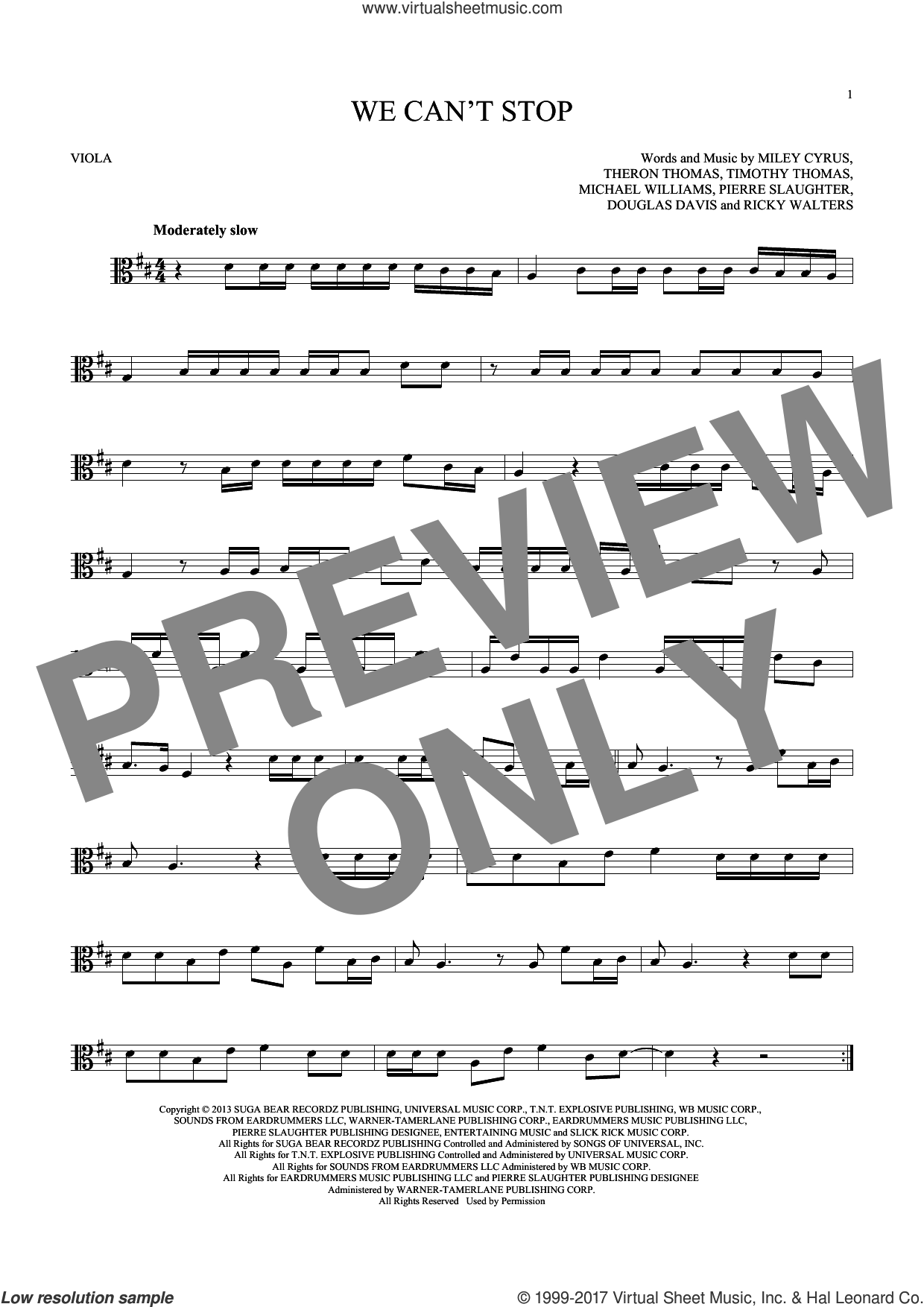 We Can't Stop sheet music for viola solo by Timmy Thomas, Michael Williams, Miley Cyrus, Pierre Slaughter and Ricky Walters. Score Image Preview.