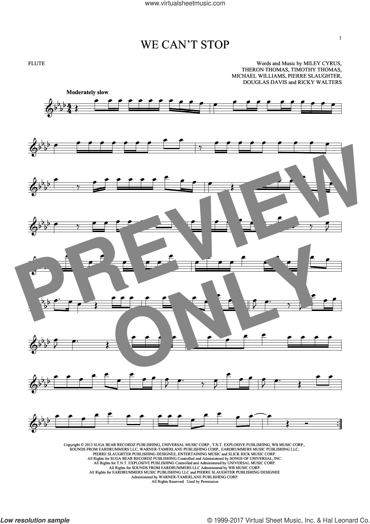 We Can't Stop sheet music for flute solo by Timmy Thomas, Michael Williams, Miley Cyrus, Pierre Slaughter and Ricky Walters. Score Image Preview.