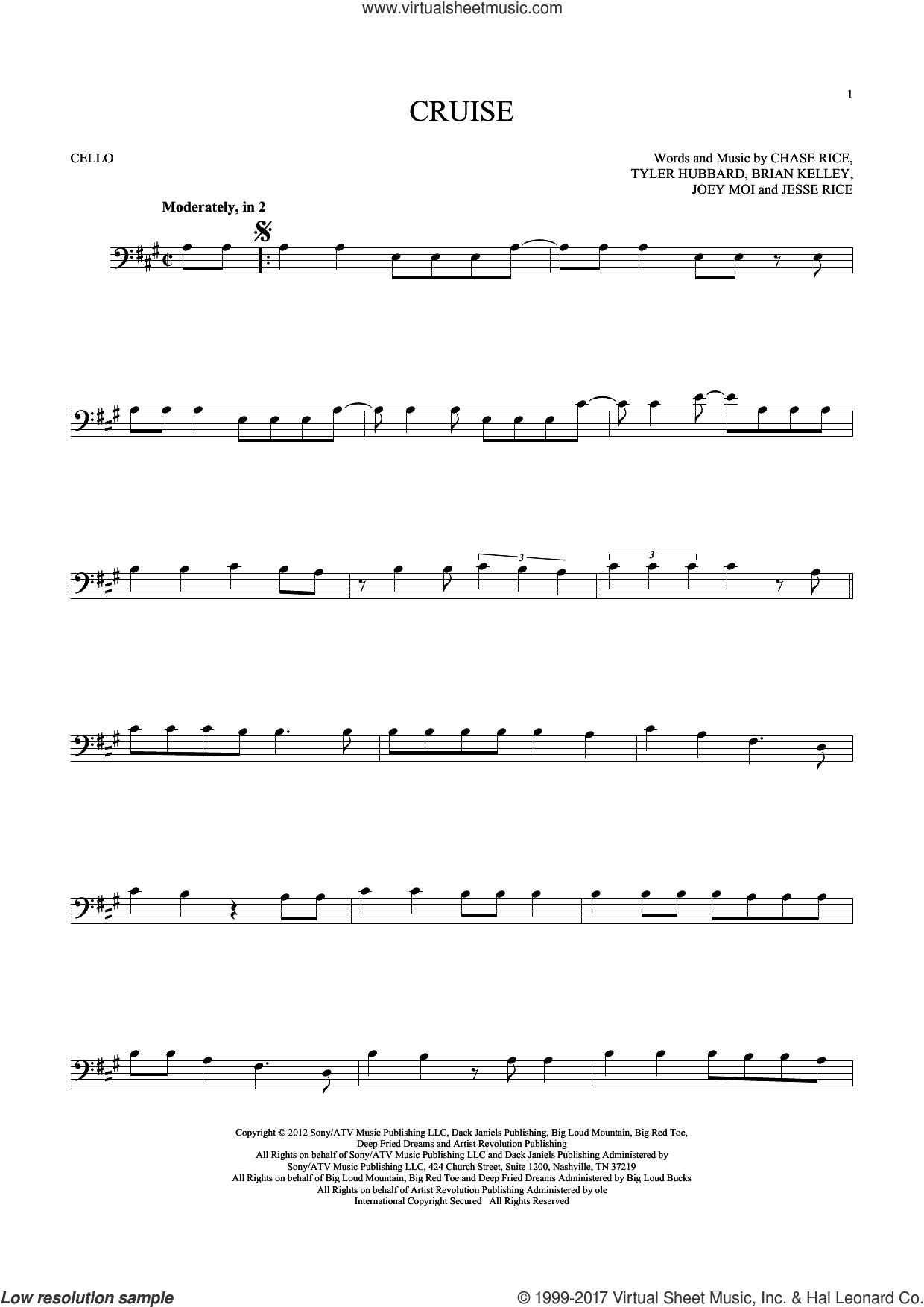 Cruise sheet music for cello solo by Florida Georgia Line, Brian Kelley, Chase Rice, Jesse Rice, Joey Moi and Tyler Hubbard, intermediate skill level
