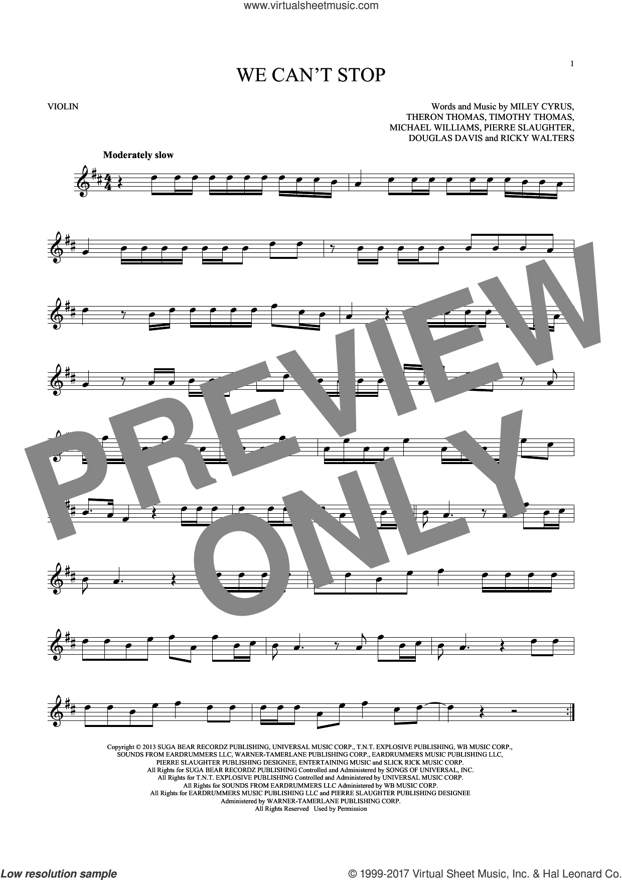 We Can't Stop sheet music for violin solo by Miley Cyrus, Douglas Davis, Michael Williams, Pierre Slaughter, Ricky Walters, Theron Thomas and Timmy Thomas, intermediate skill level