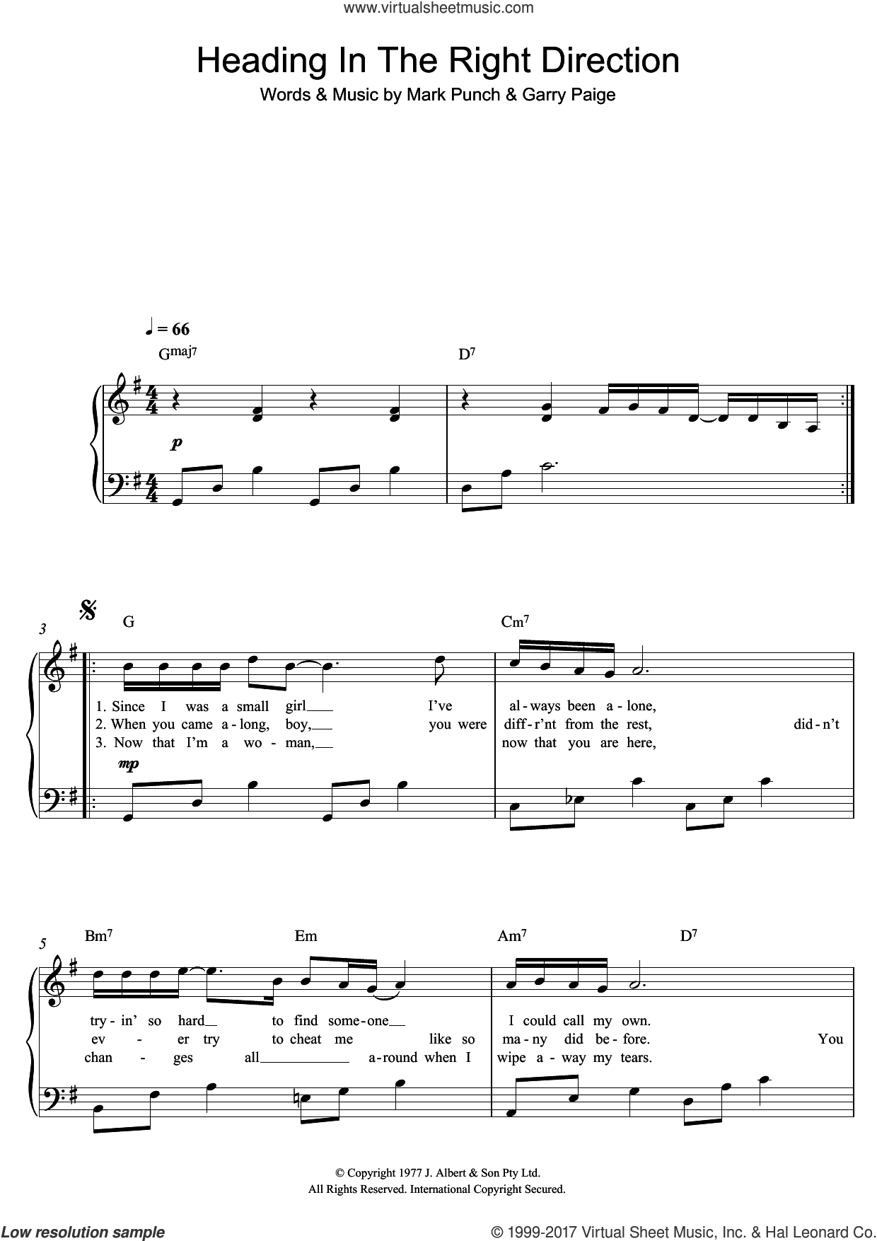 Heading In The Right Direction sheet music for piano solo by Renee Geyer. Score Image Preview.