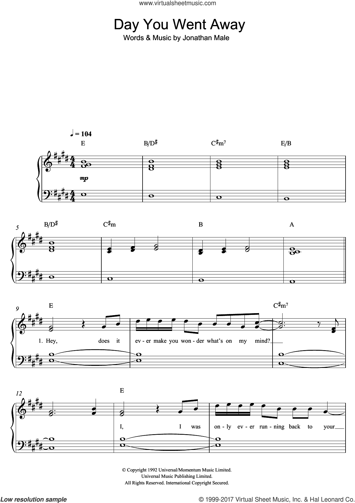 The Day You Went Away sheet music for piano solo by Wendy Matthews. Score Image Preview.