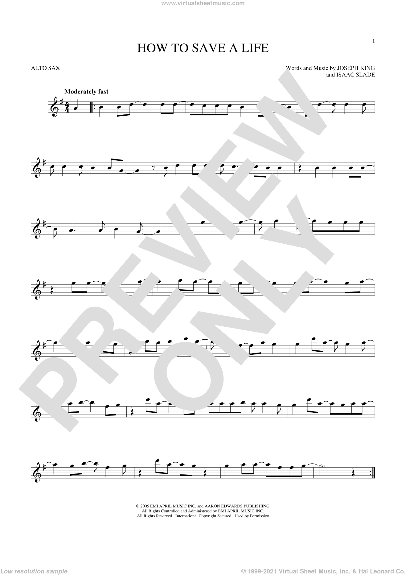 How To Save A Life sheet music for alto saxophone solo by The Fray, Isaac Slade and Joseph King, intermediate skill level
