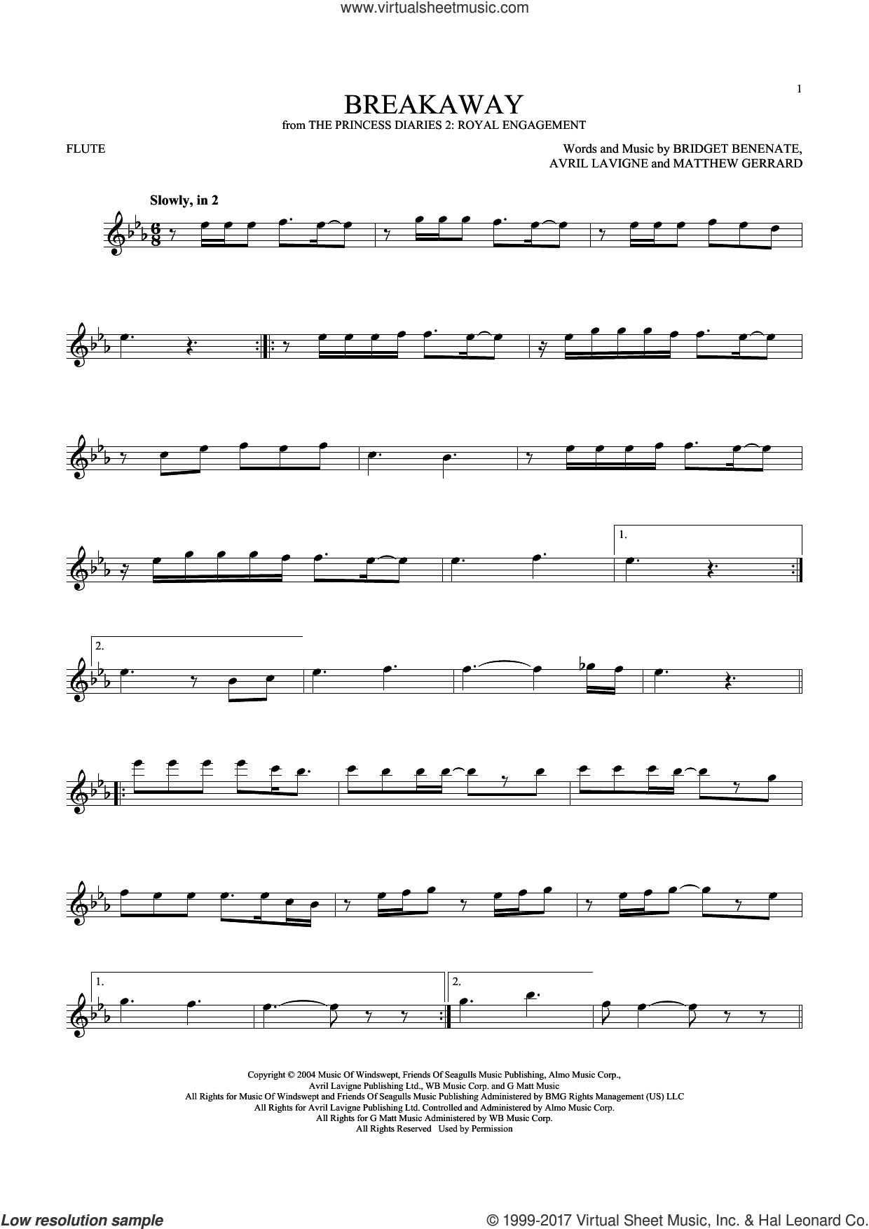 Breakaway sheet music for flute solo by Matthew Gerrard, Kelly Clarkson, Avril Lavigne and Bridget Benenate. Score Image Preview.