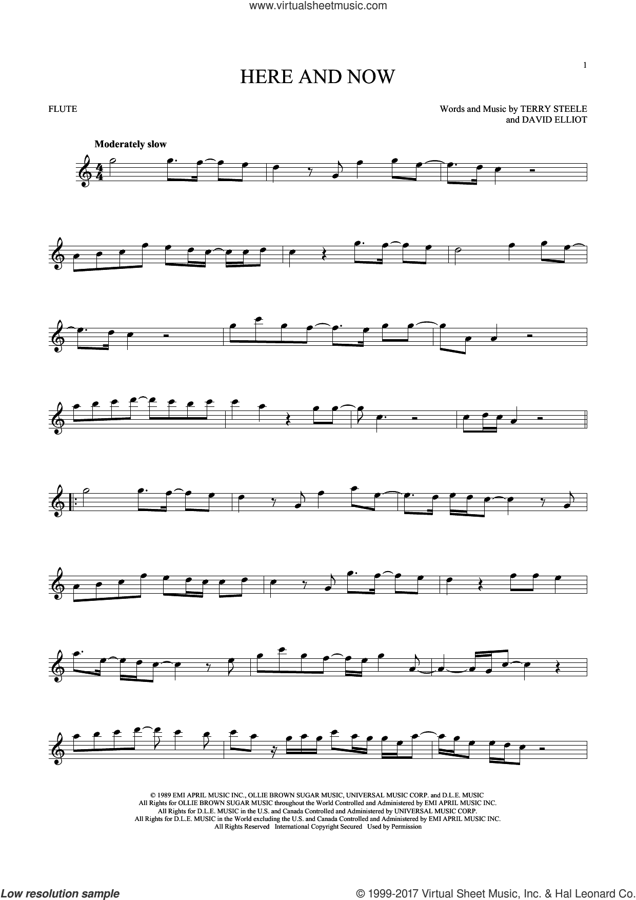 Here And Now sheet music for flute solo by Luther Vandross, David Elliot and Terry Steele, wedding score, intermediate skill level
