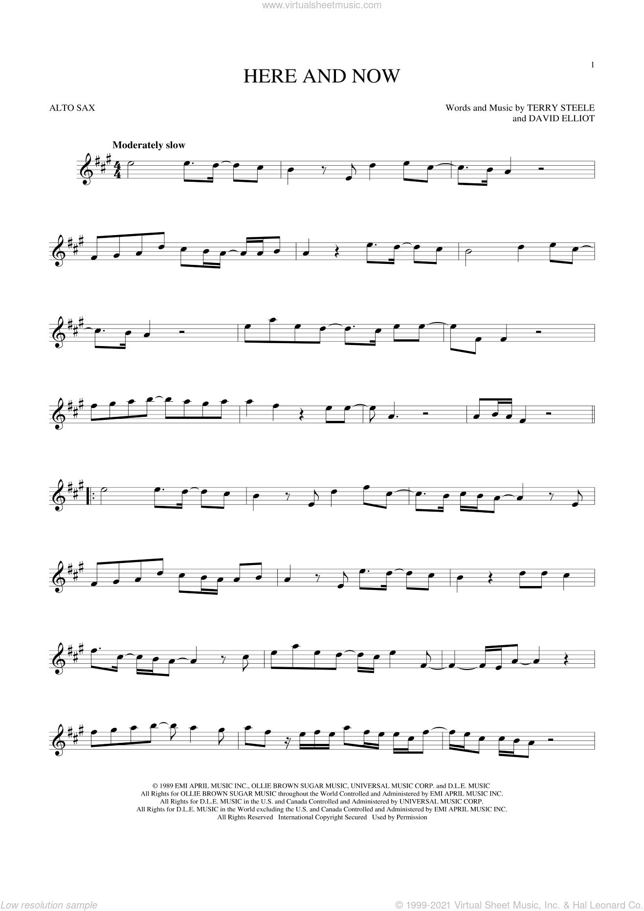 Here And Now sheet music for alto saxophone solo by Luther Vandross, David Elliot and Terry Steele, wedding score, intermediate skill level