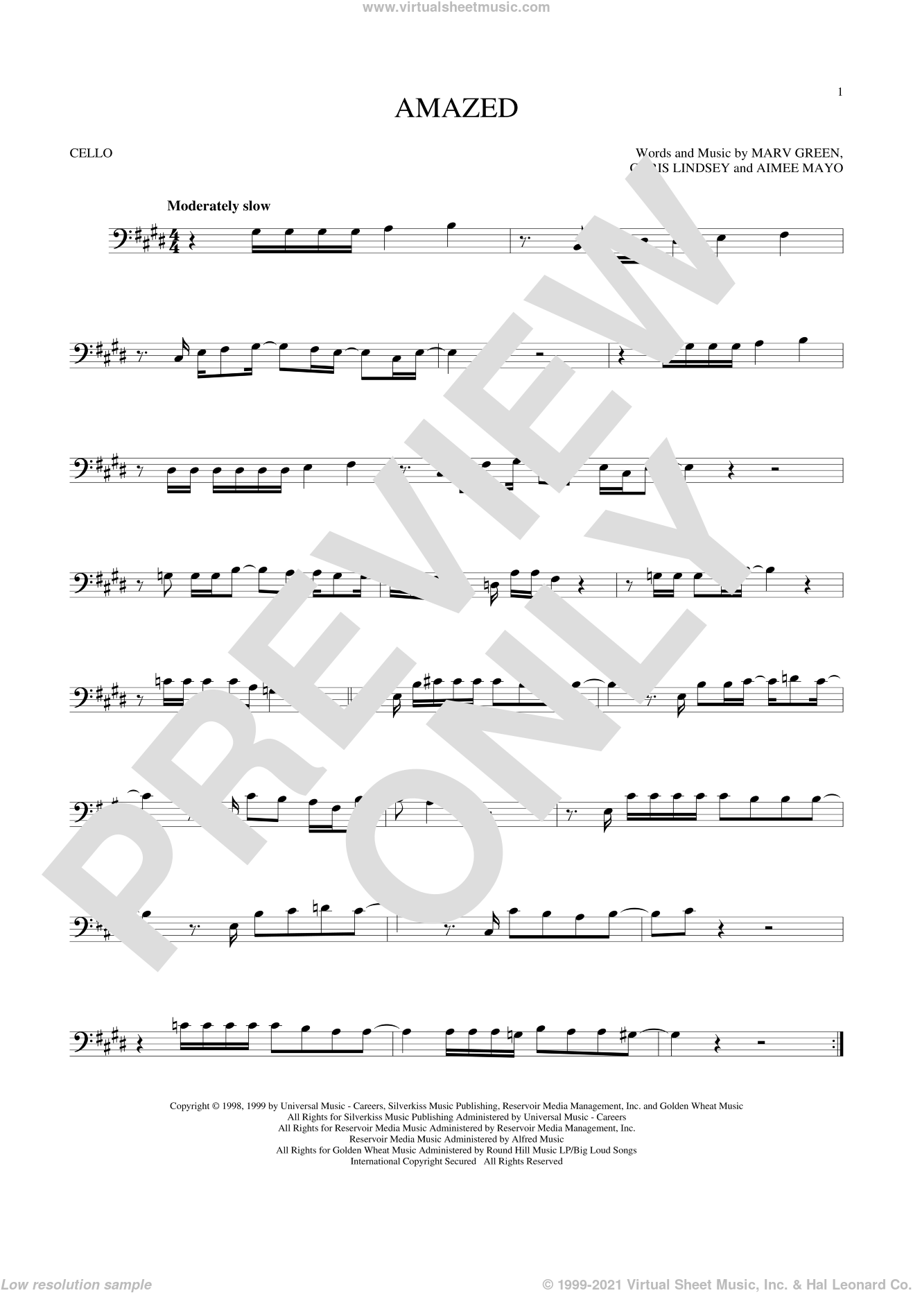 Amazed sheet music for cello solo by Lonestar, Aimee Mayo, Chris Lindsey and Marv Green, wedding score, intermediate skill level