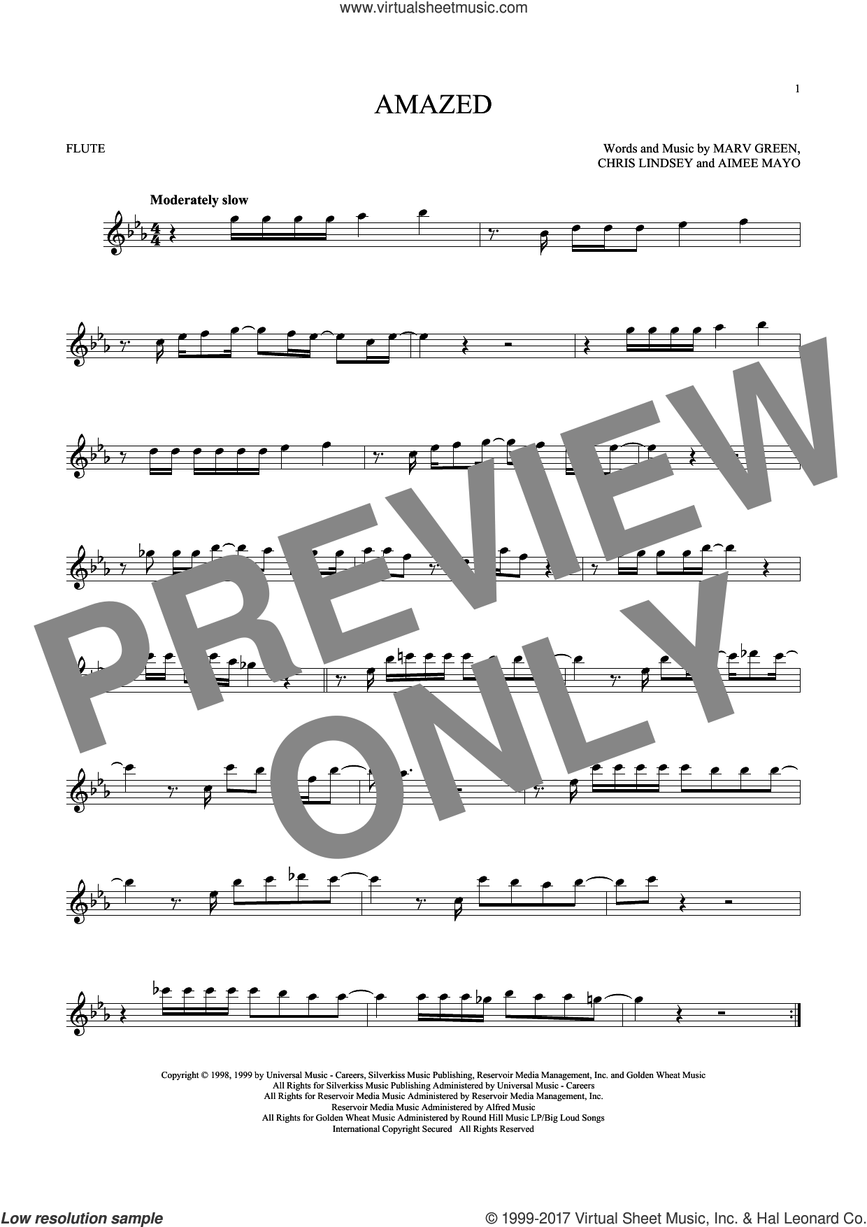 Amazed sheet music for flute solo by Lonestar, Aimee Mayo, Chris Lindsey and Marv Green, intermediate