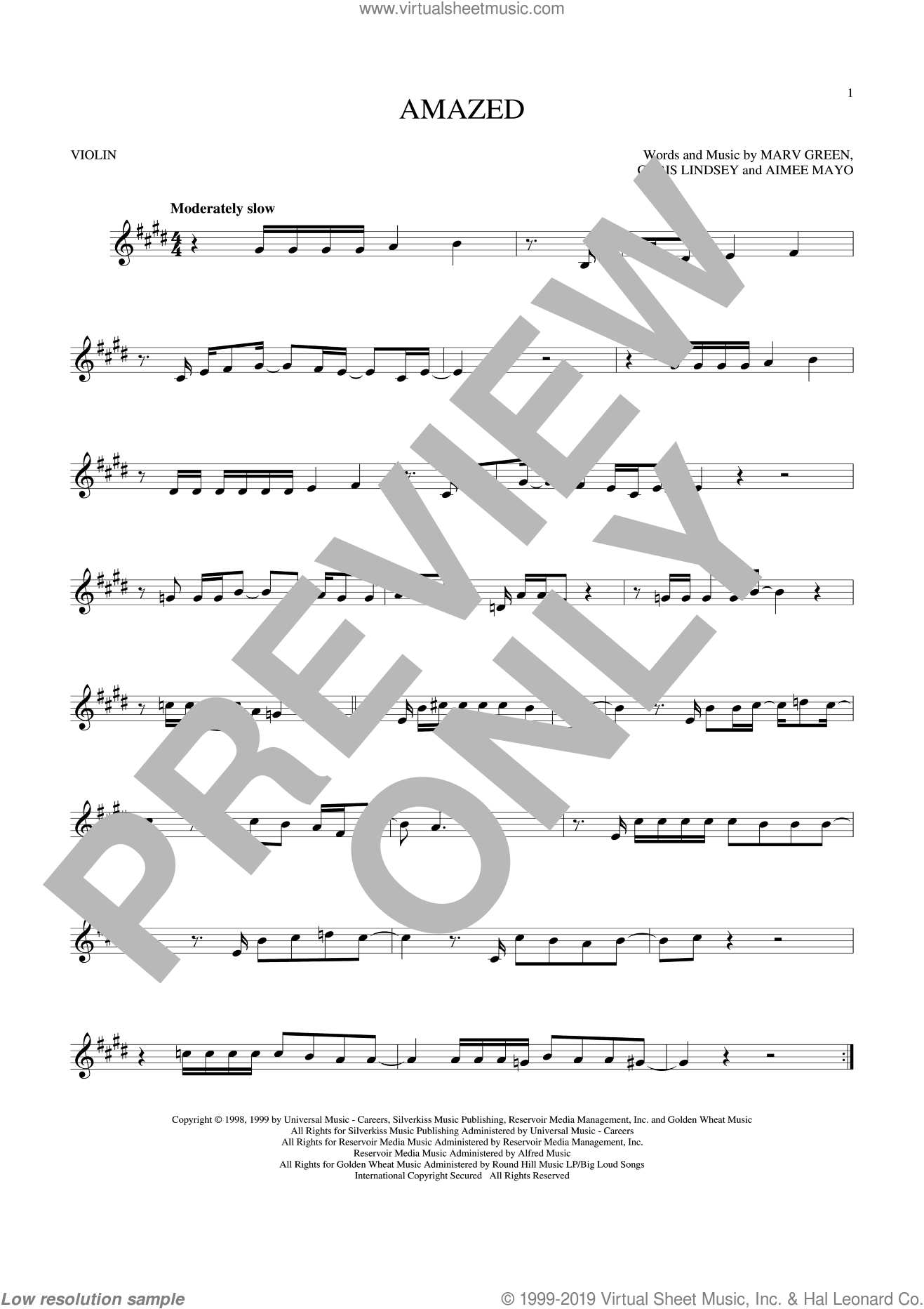 Amazed sheet music for violin solo by Lonestar, Aimee Mayo, Chris Lindsey and Marv Green, wedding score, intermediate skill level