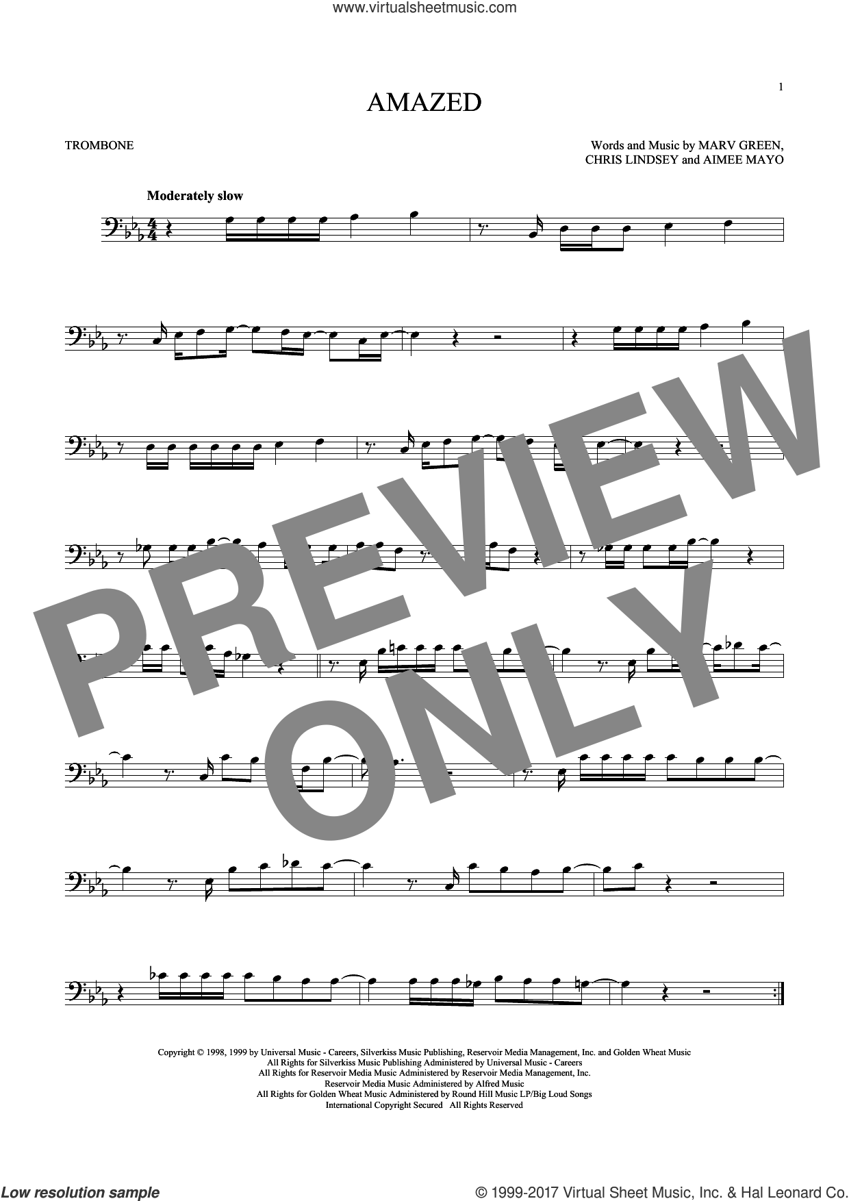 Amazed sheet music for trombone solo by Lonestar, Aimee Mayo, Chris Lindsey and Marv Green, wedding score, intermediate skill level