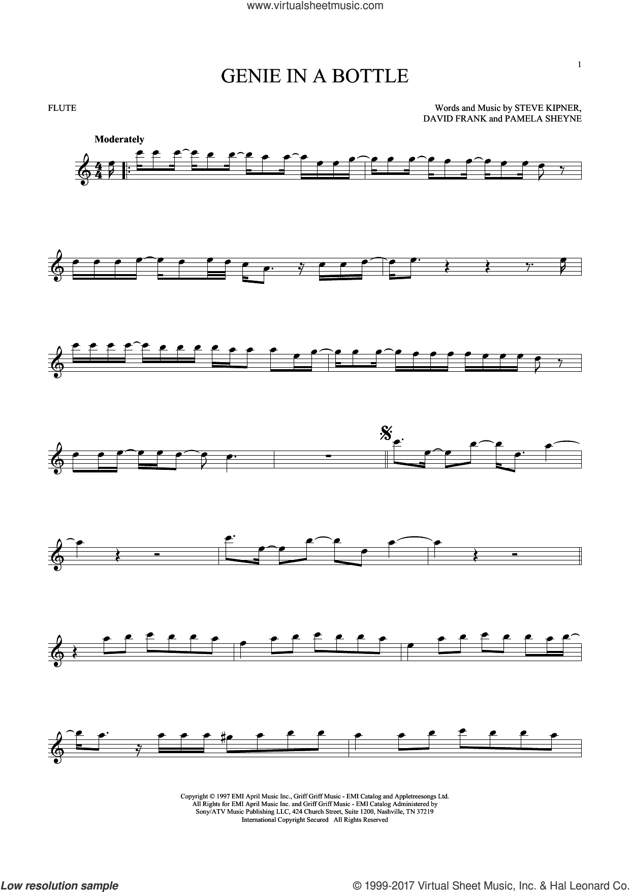 Genie In A Bottle sheet music for flute solo by Christina Aguilera, David Frank, Pam Sheyne and Steve Kipner, intermediate skill level