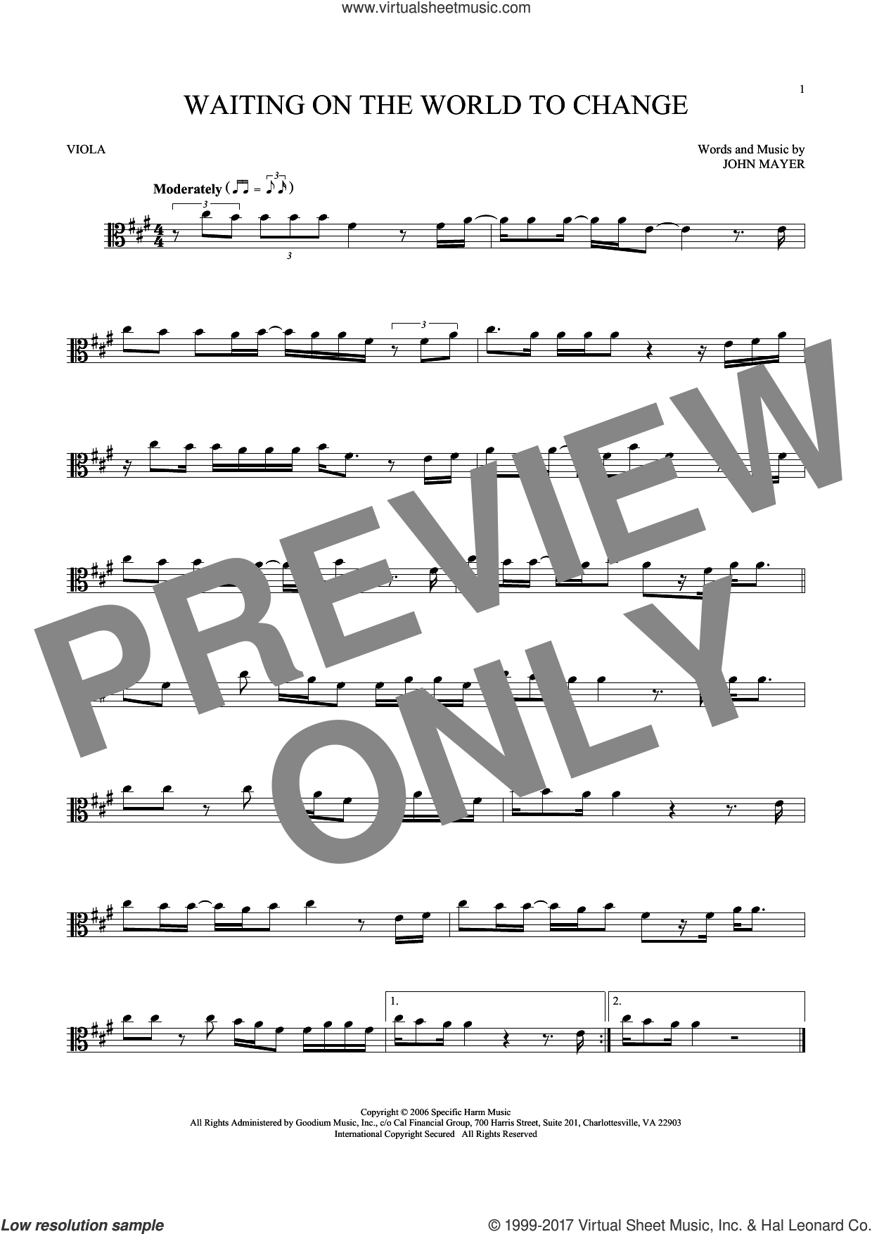 Waiting On The World To Change sheet music for viola solo by John Mayer, intermediate. Score Image Preview.
