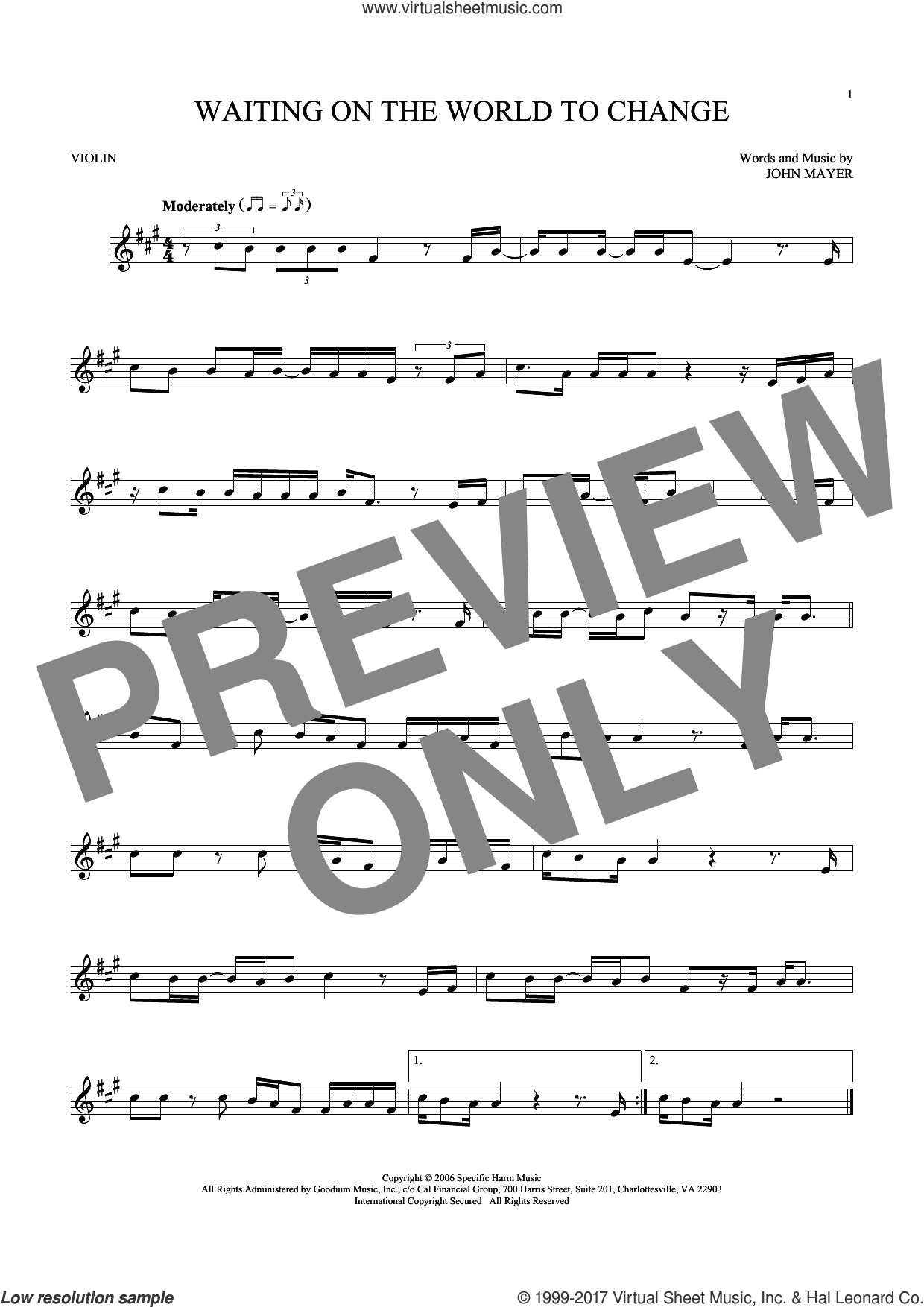 Waiting On The World To Change sheet music for violin solo by John Mayer, intermediate skill level