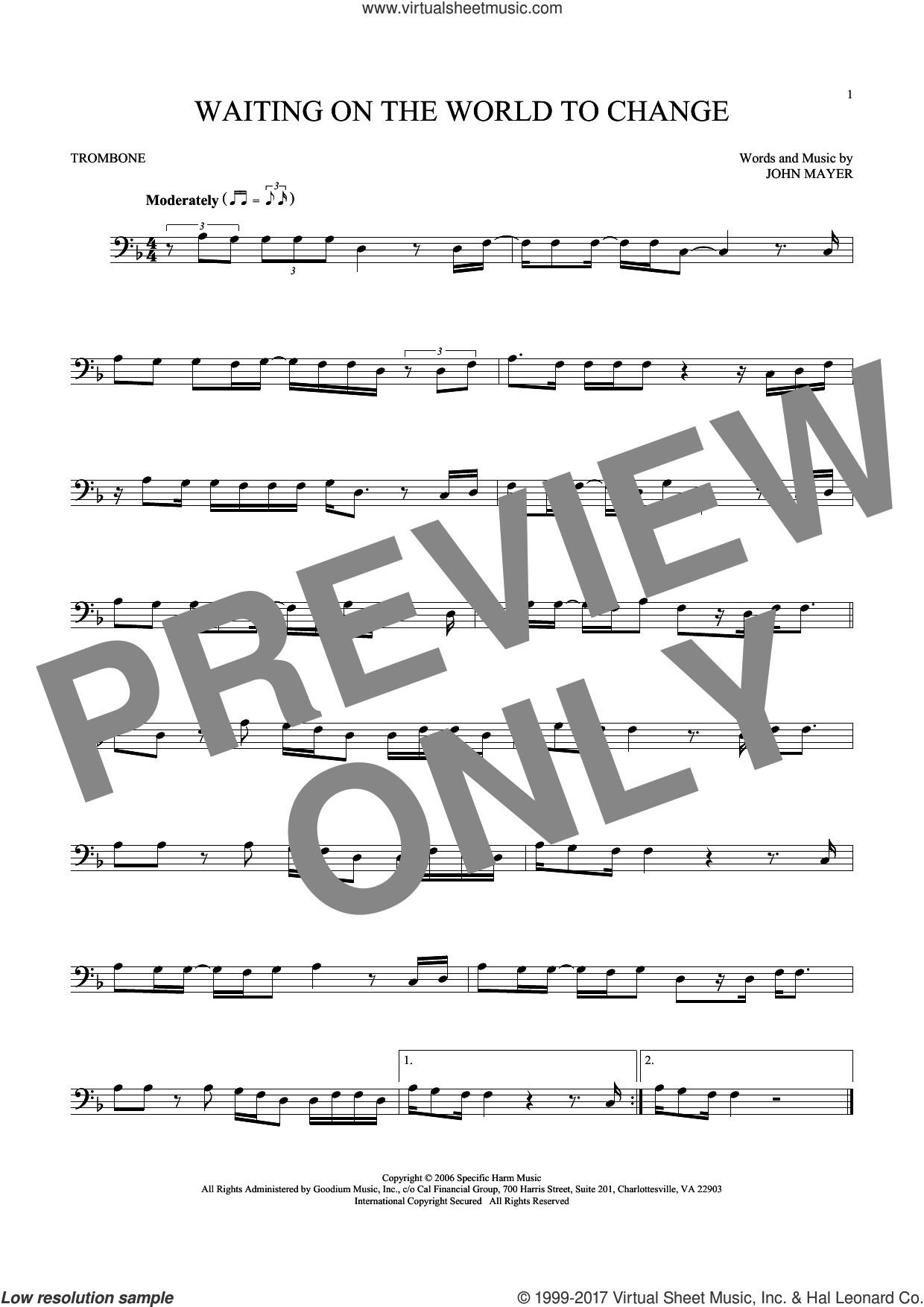 Waiting On The World To Change sheet music for trombone solo by John Mayer. Score Image Preview.
