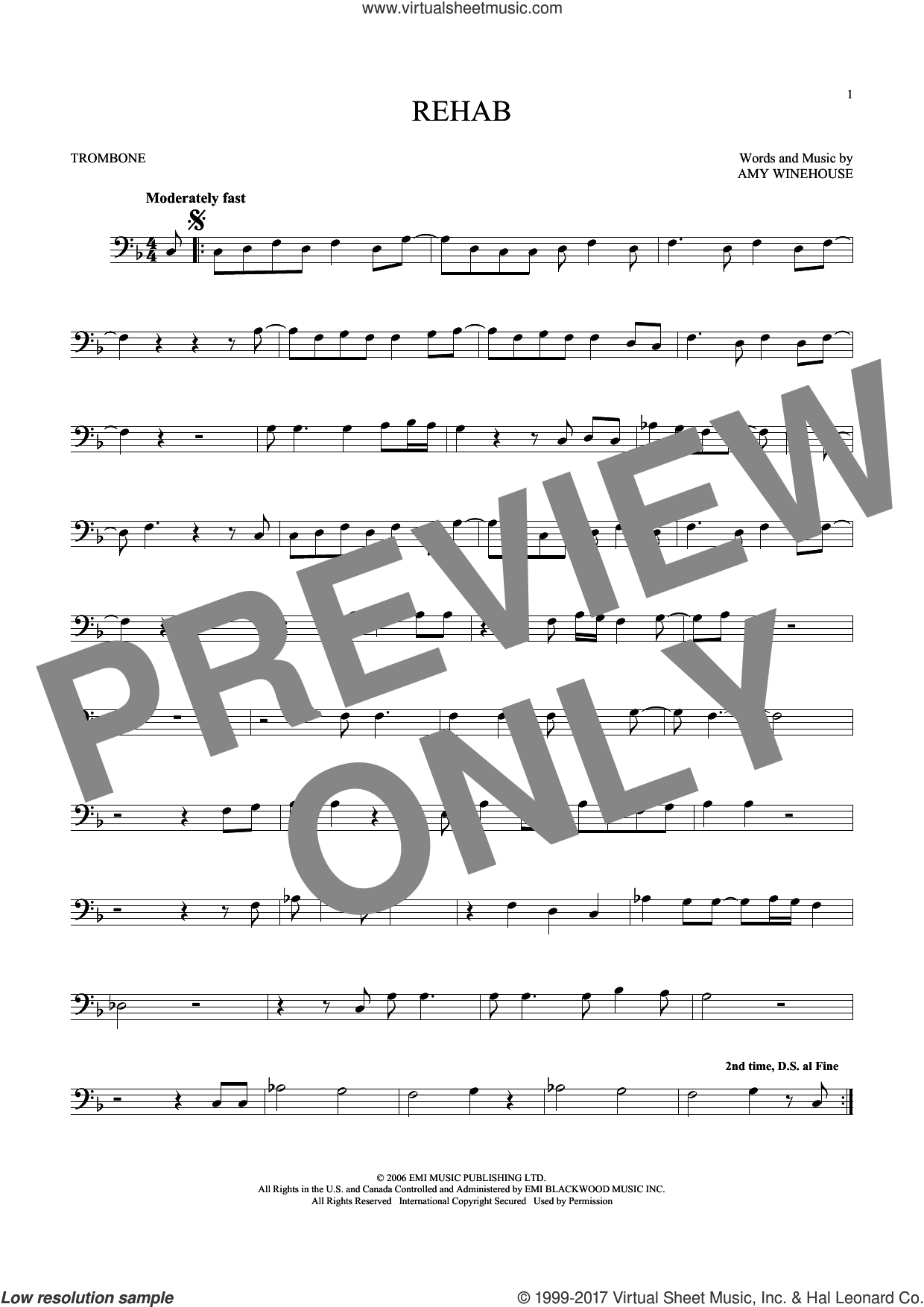Rehab sheet music for trombone solo by Amy Winehouse, intermediate skill level